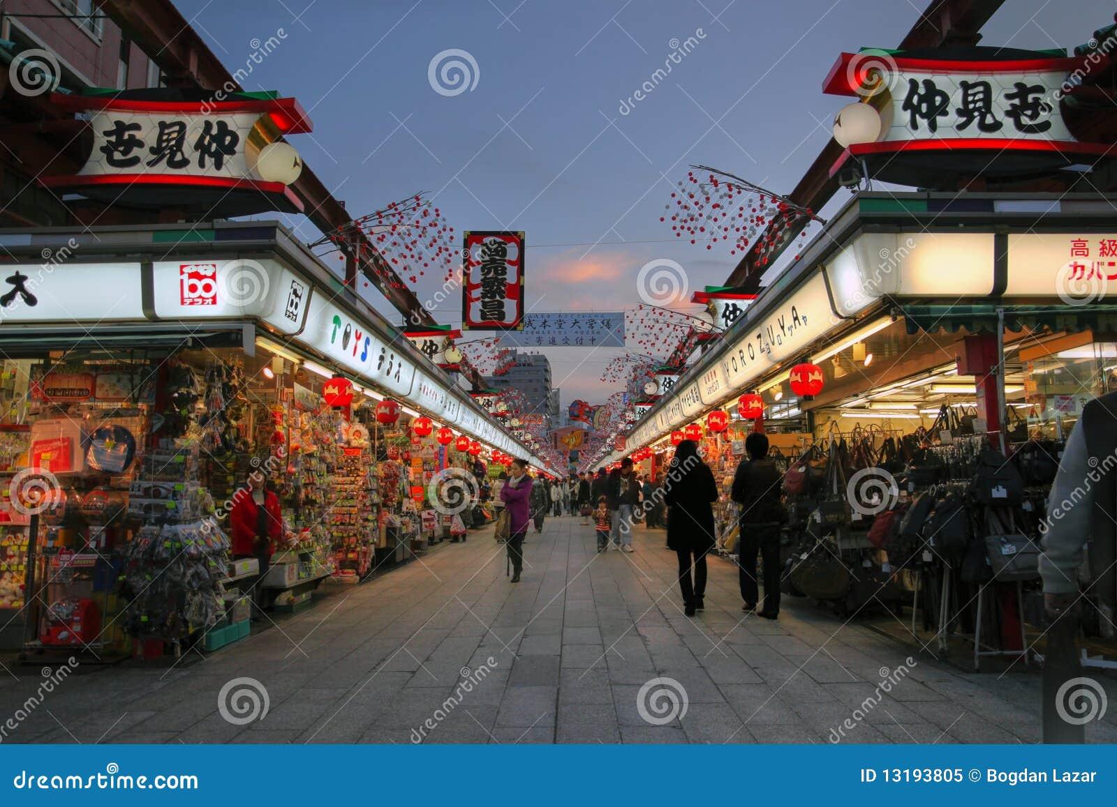 Dori de Nakamise, Asakusa, Tokio, Japón