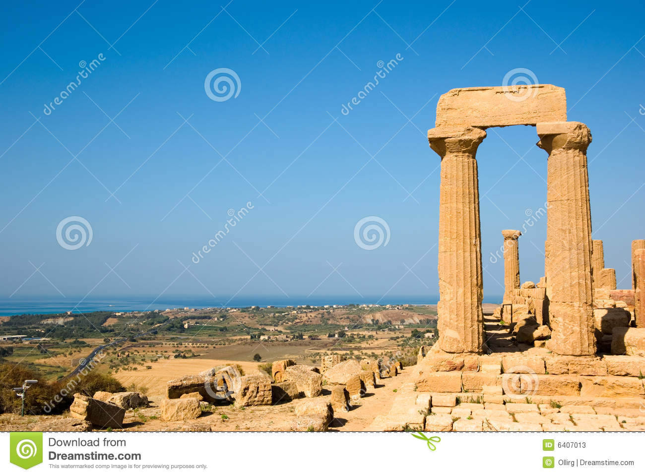 Dorics Columns And Panorama Of Valley Of Temples Stock