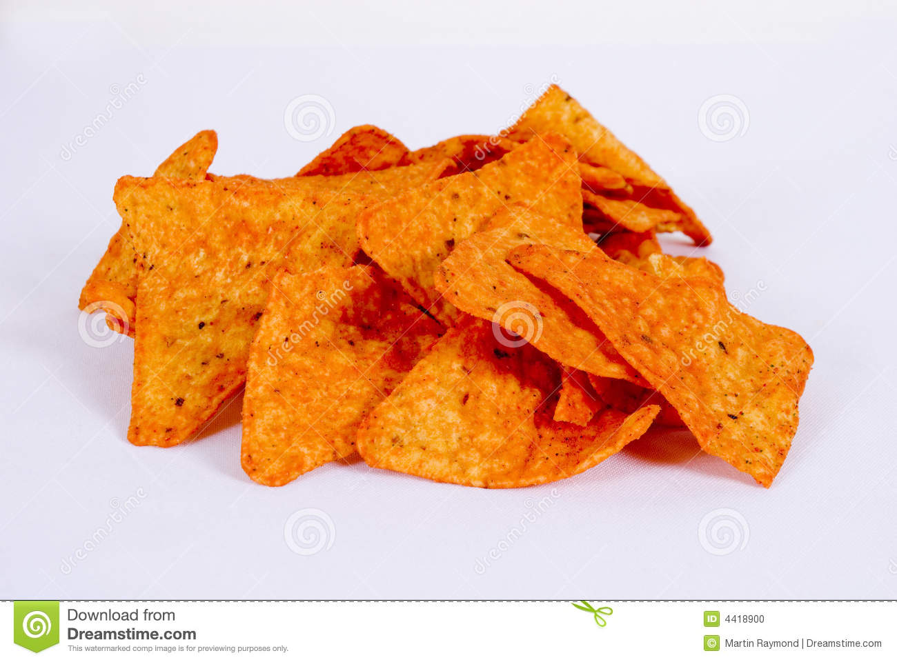 mountain of corn chips doritos spiced on a white background.