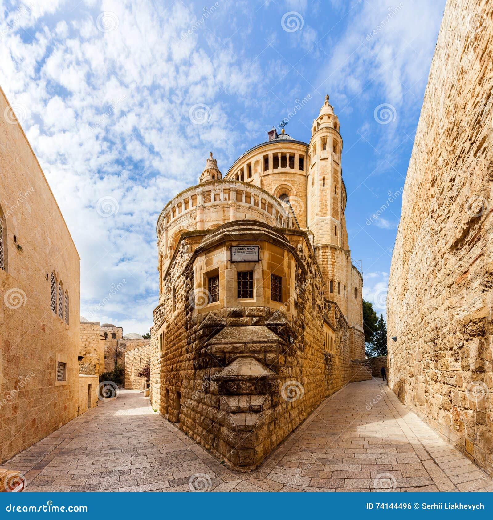 Dormition abbotsklosterkyrka gammal town jerusalem israel