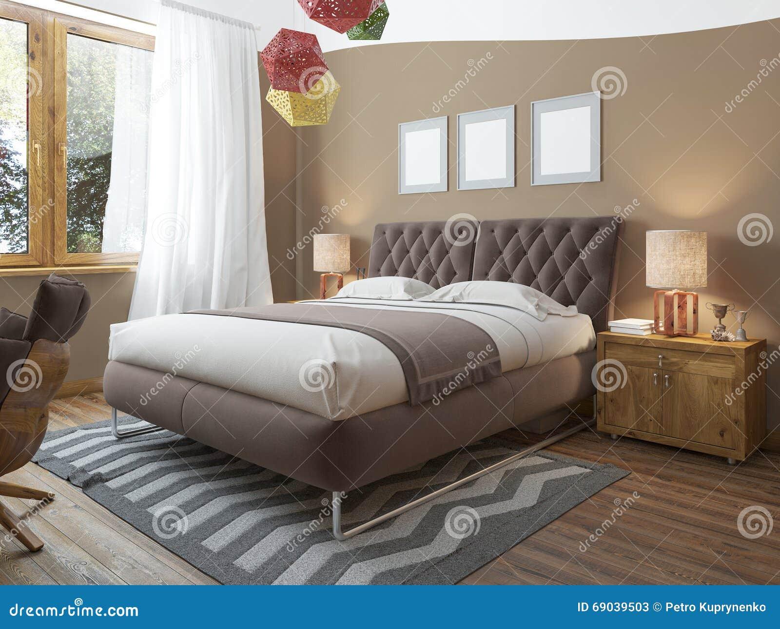 Dormitorio brillante de lujo en el desván