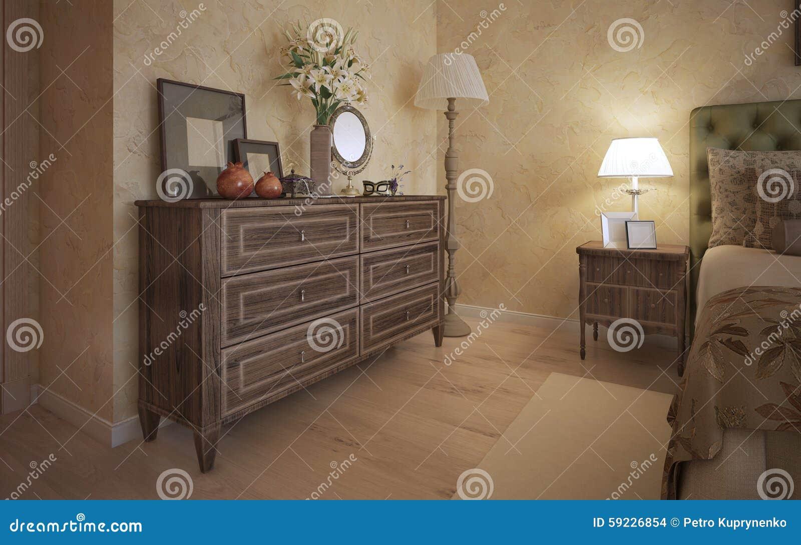 Dormitorio clásico con muebles del roble