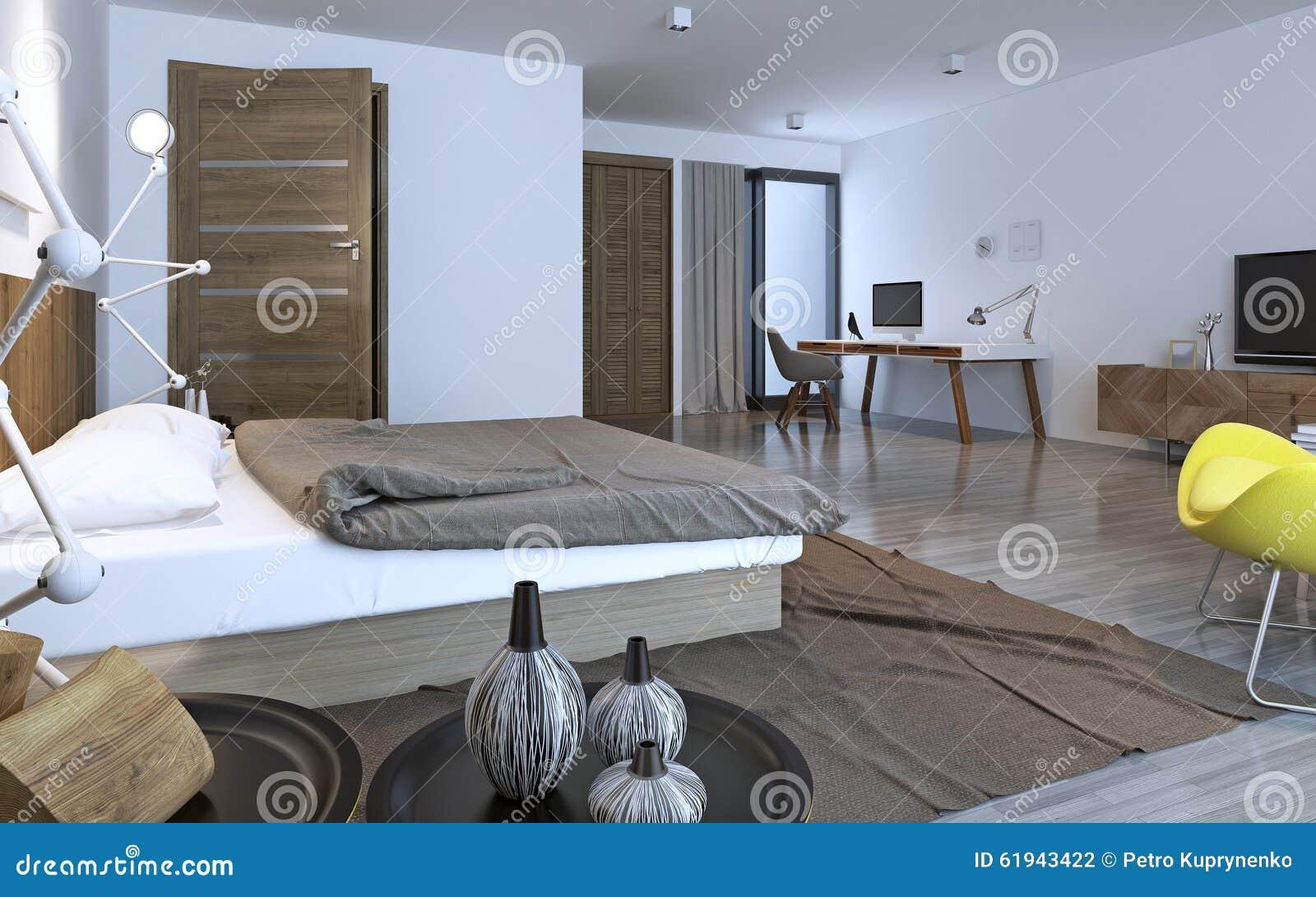 Dormitorio Contempor Neo Con Muebles Marrones Stock De Ilustraci N  # Muebles Marrones