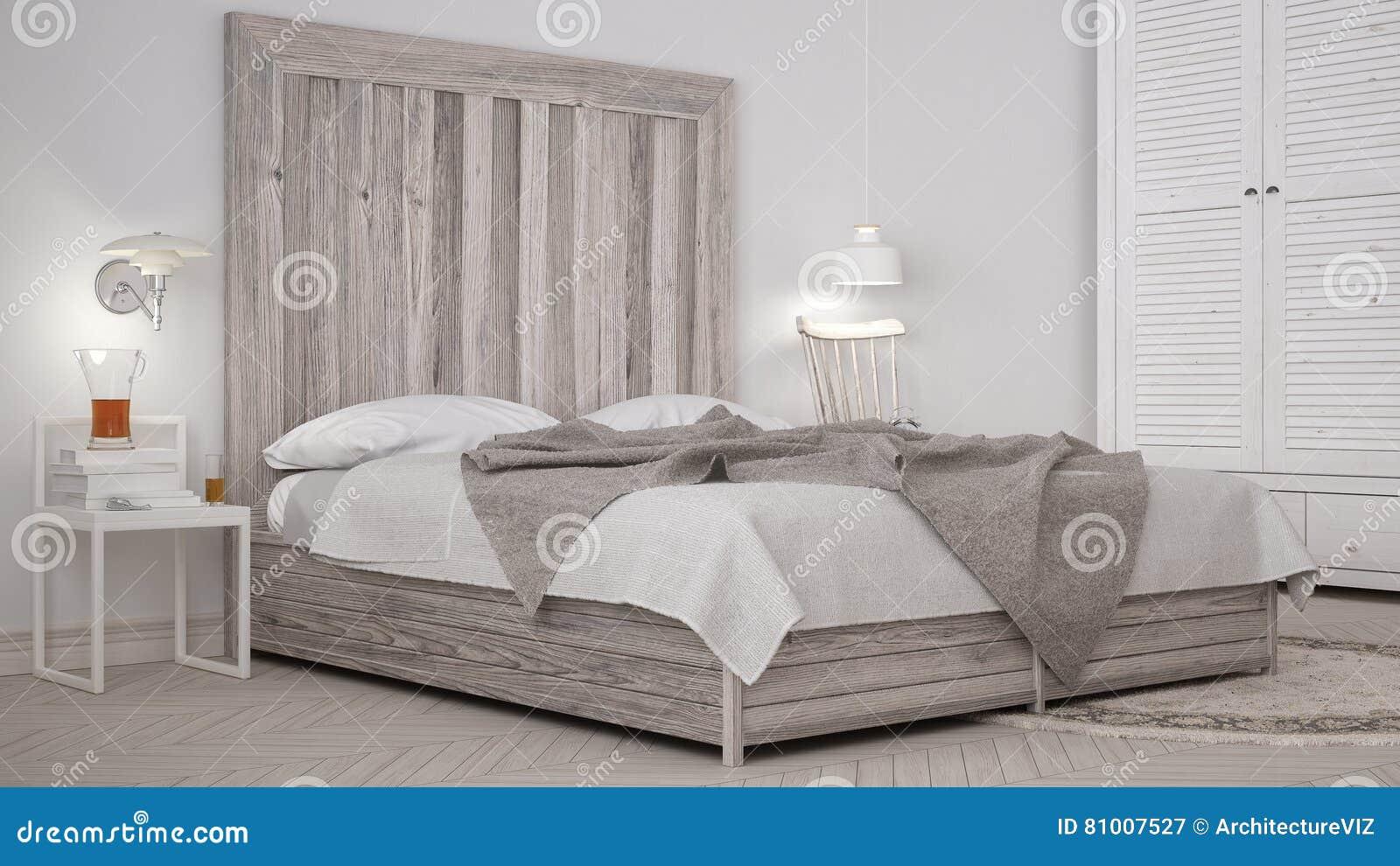 Dormitorio de DIY, cama con el cabecero de madera, eco blanco escandinavo c