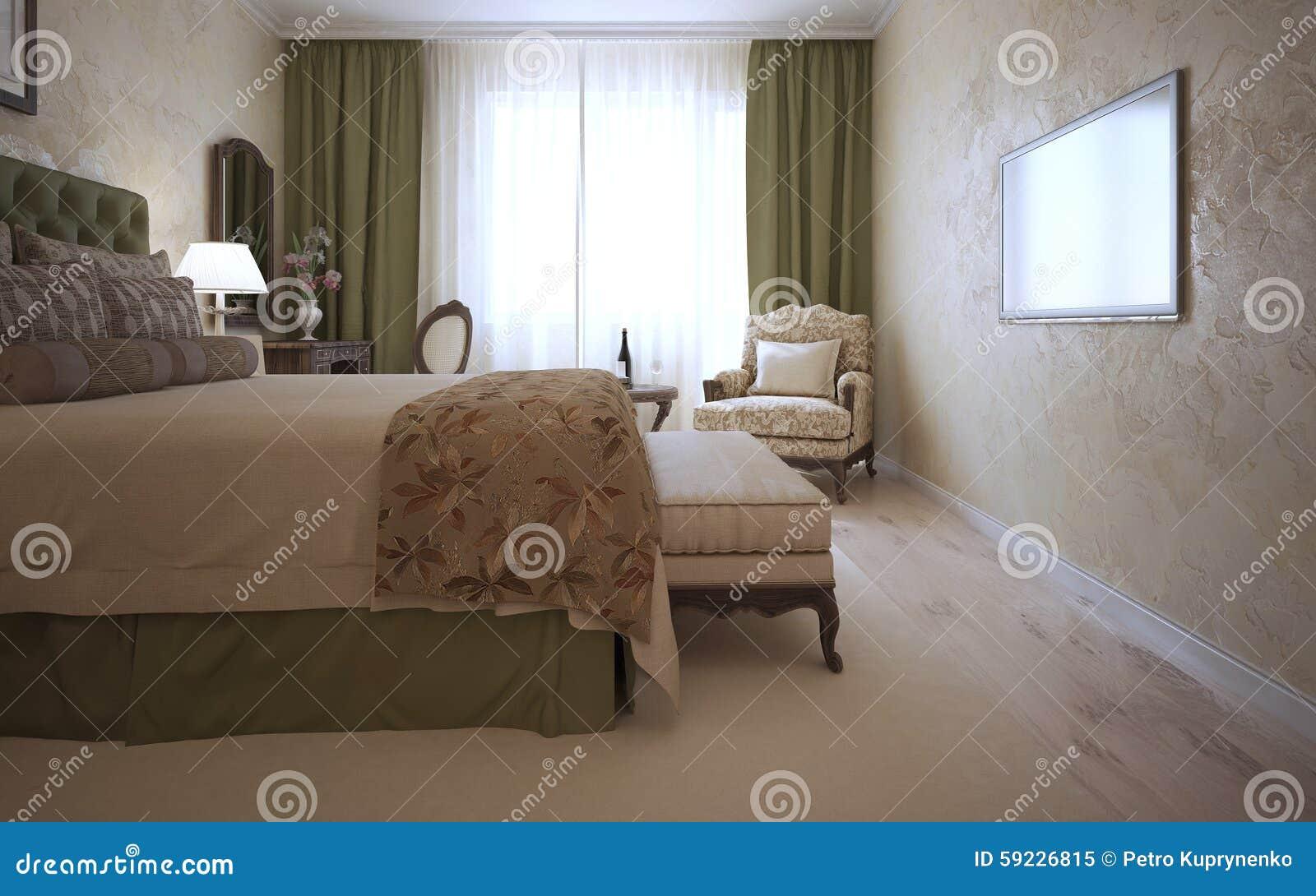 Download Dormitorio De Huésped En Estilo Mediterráneo Stock de ilustración - Ilustración de interior, cama: 59226815
