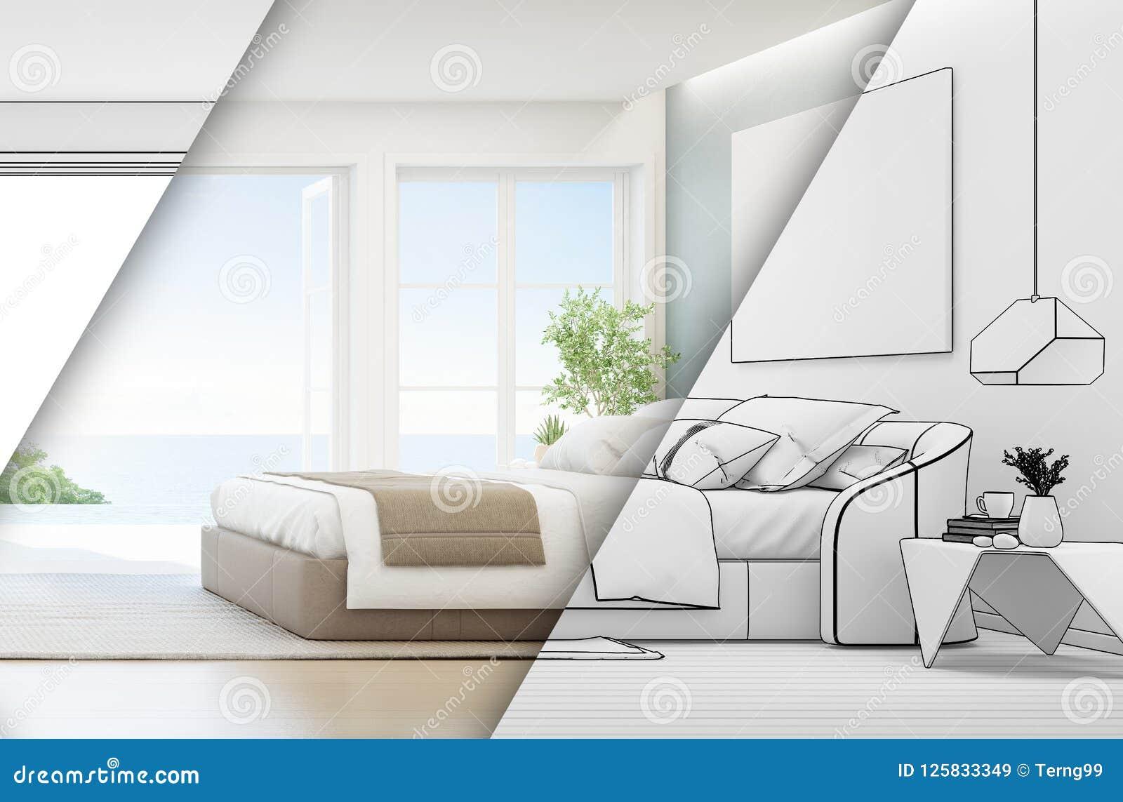 Dormitorio De La Opinión Del Mar De La Casa De Playa De Lujo