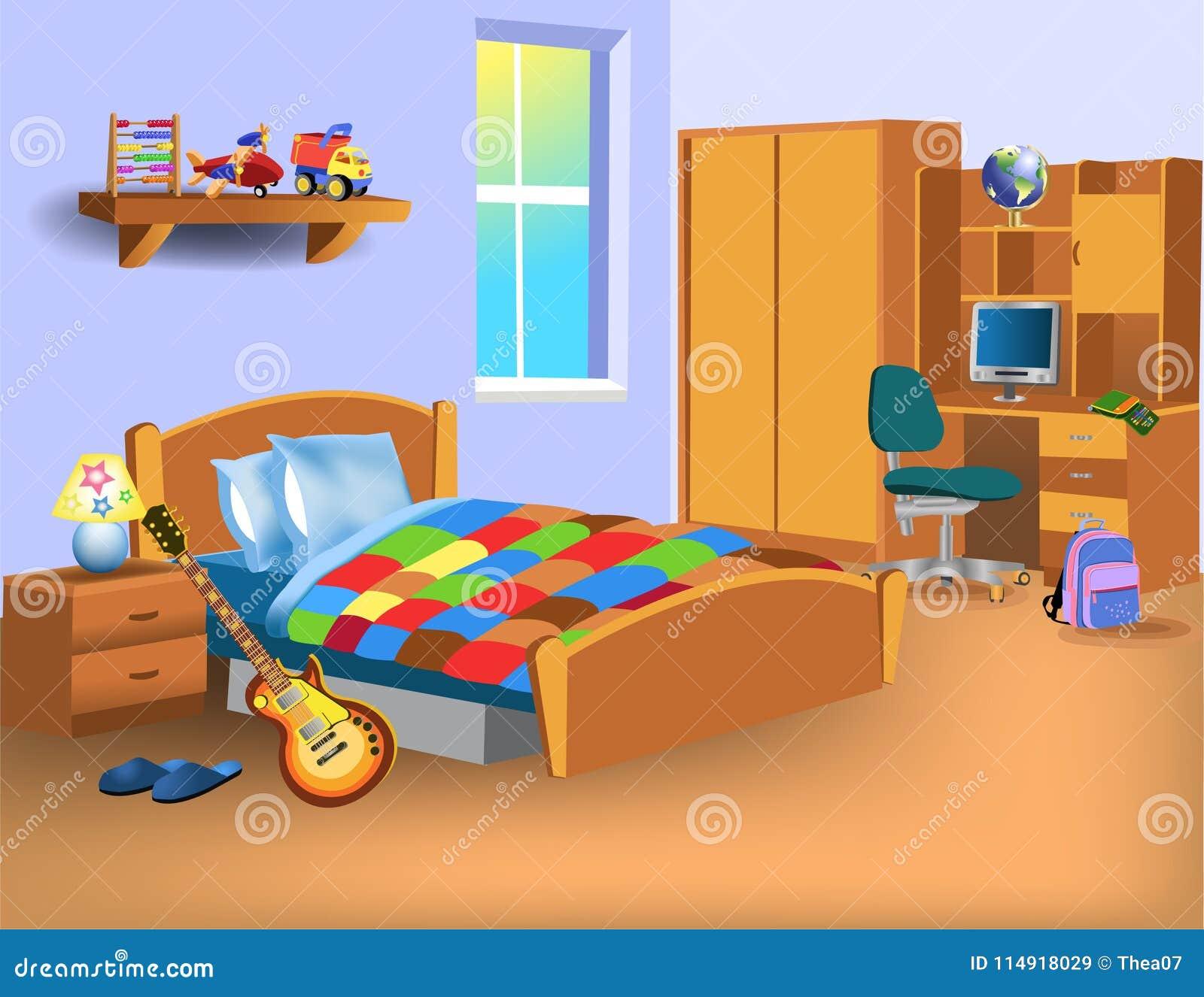 Dormitorio del niño de la historieta con el ordenador en el escritorio, los juguetes y la guitarra eléctrica