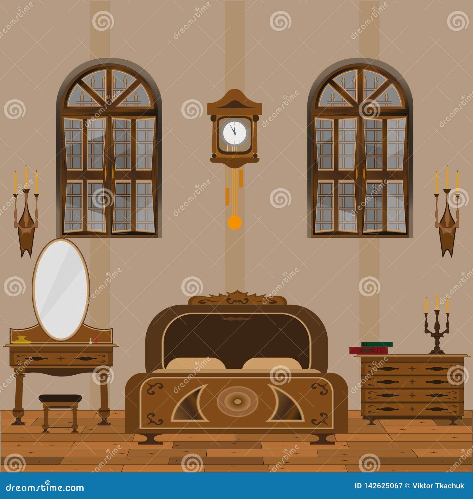Dormitorio del viejo estilo interior con el suelo de madera