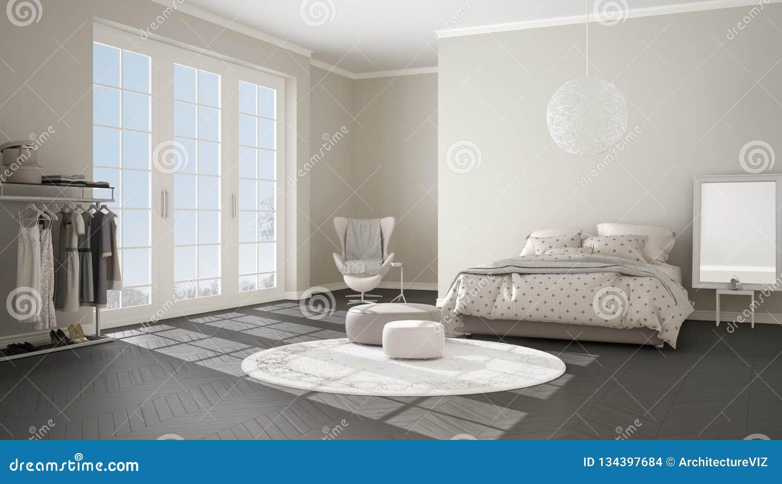 Dormitorio gris y beige moderno cómodo con el piso de entarimado de madera, la ventana panorámica en paisaje del invierno, alfomb