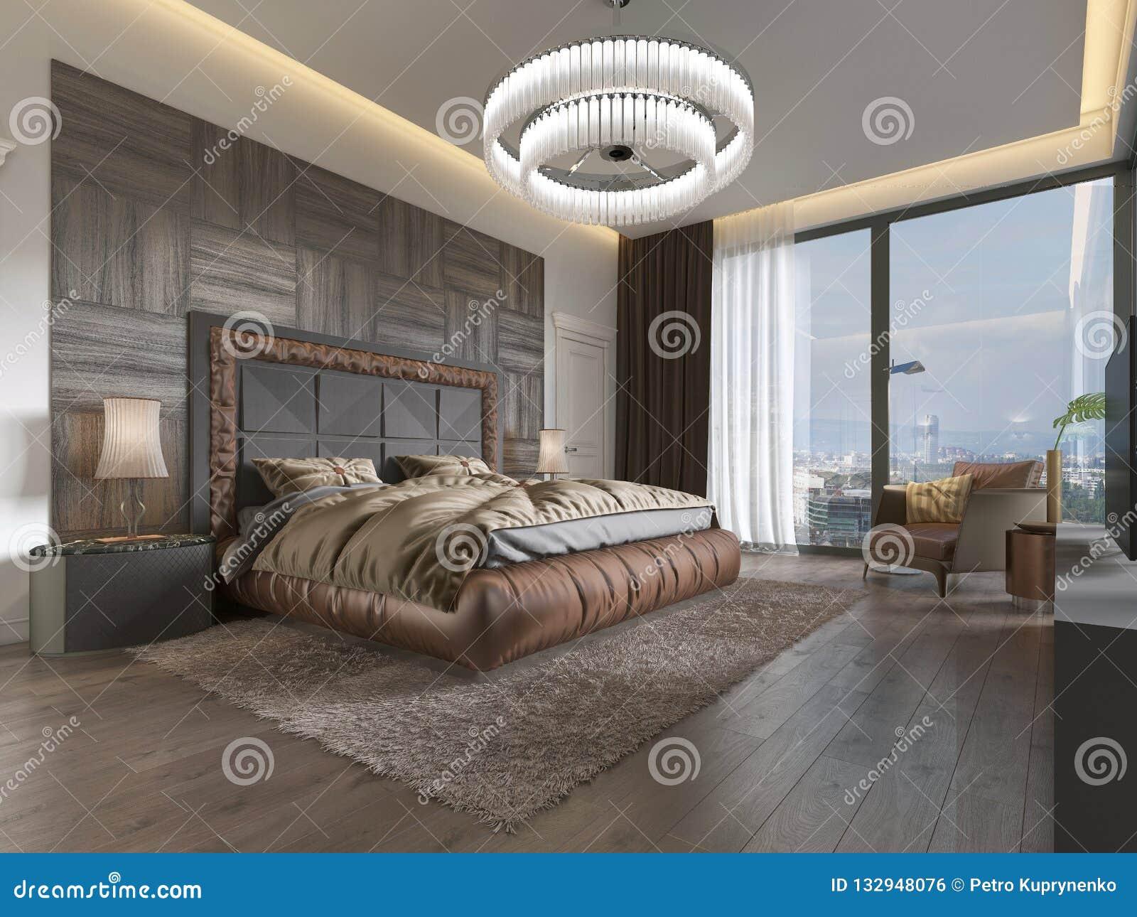 Dormitorio lujoso en estilo moderno con las ventanas grandes en la pared Lámpara del vidrio esmerilado, tocador, unidad de la TV