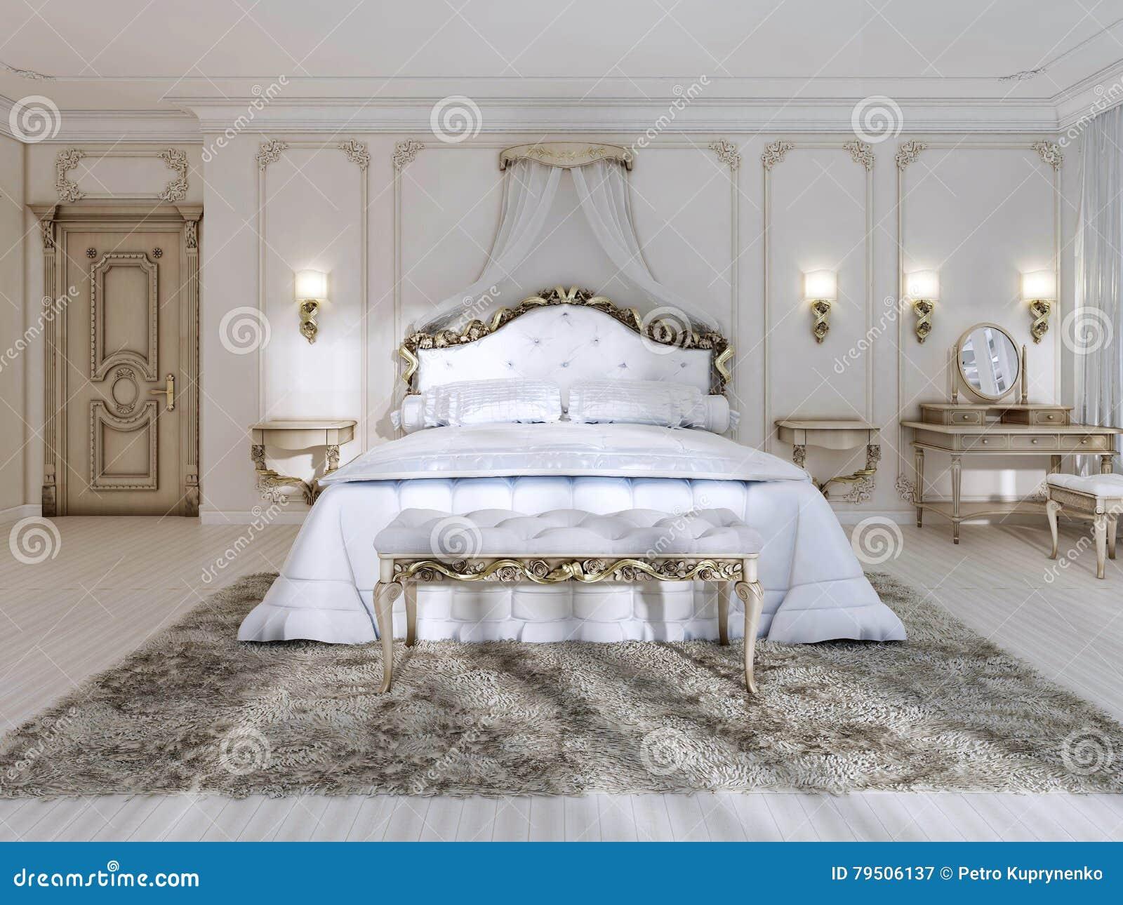 Dormitorio lujoso en los colores blancos en un estilo clásico