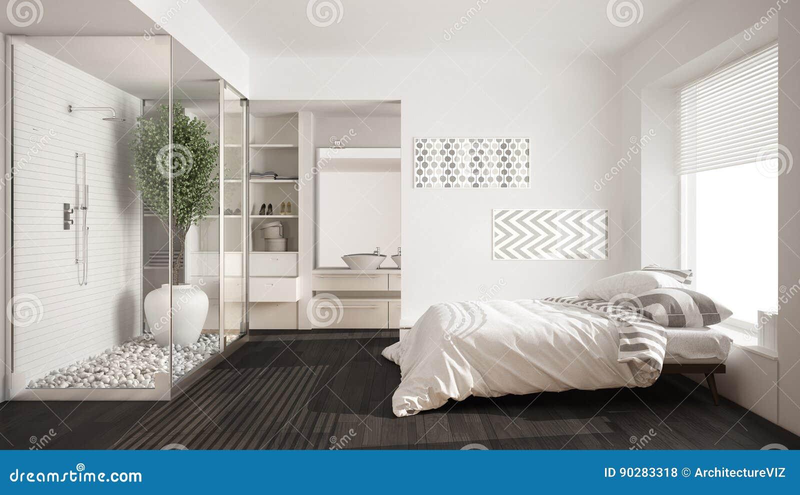 Dormitorio Y Cuarto De Baño Minimalistas Con La Ducha Y El ...