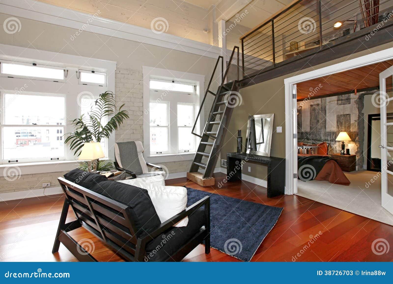 Dormitorio y sala de estar modernos reconstruidos fotos de for Dormitorio sala
