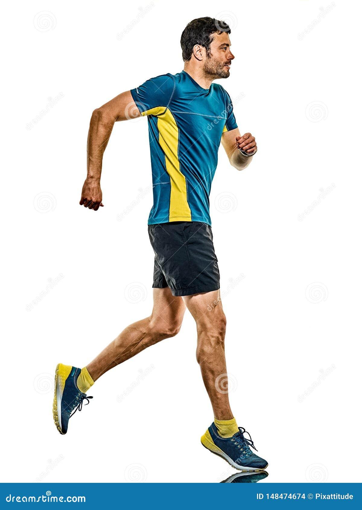 Doro?le? m??czyzny dzia?aj?cego biegacza jogging jogger odizolowywaj?cego bia?ego t?o