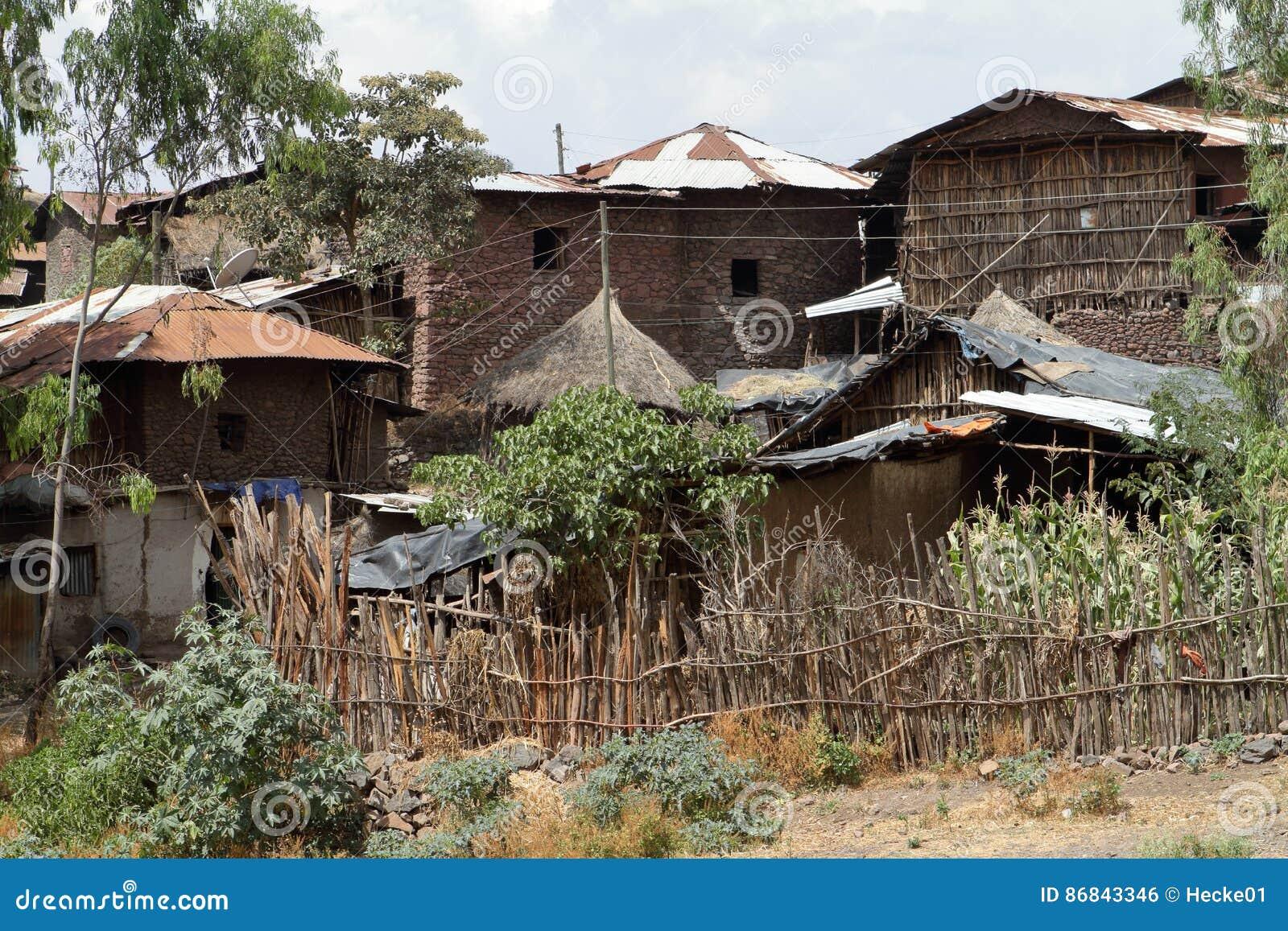 Dorpen en landbouwbedrijven in Ethiopië