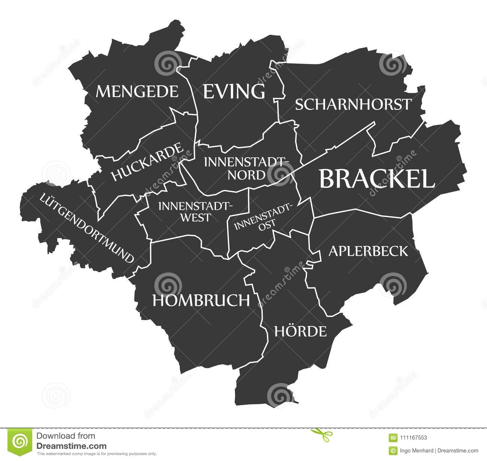 Dortmund On Map Of Germany.Dortmund City Map Germany De Labelled Black Illustration Stock