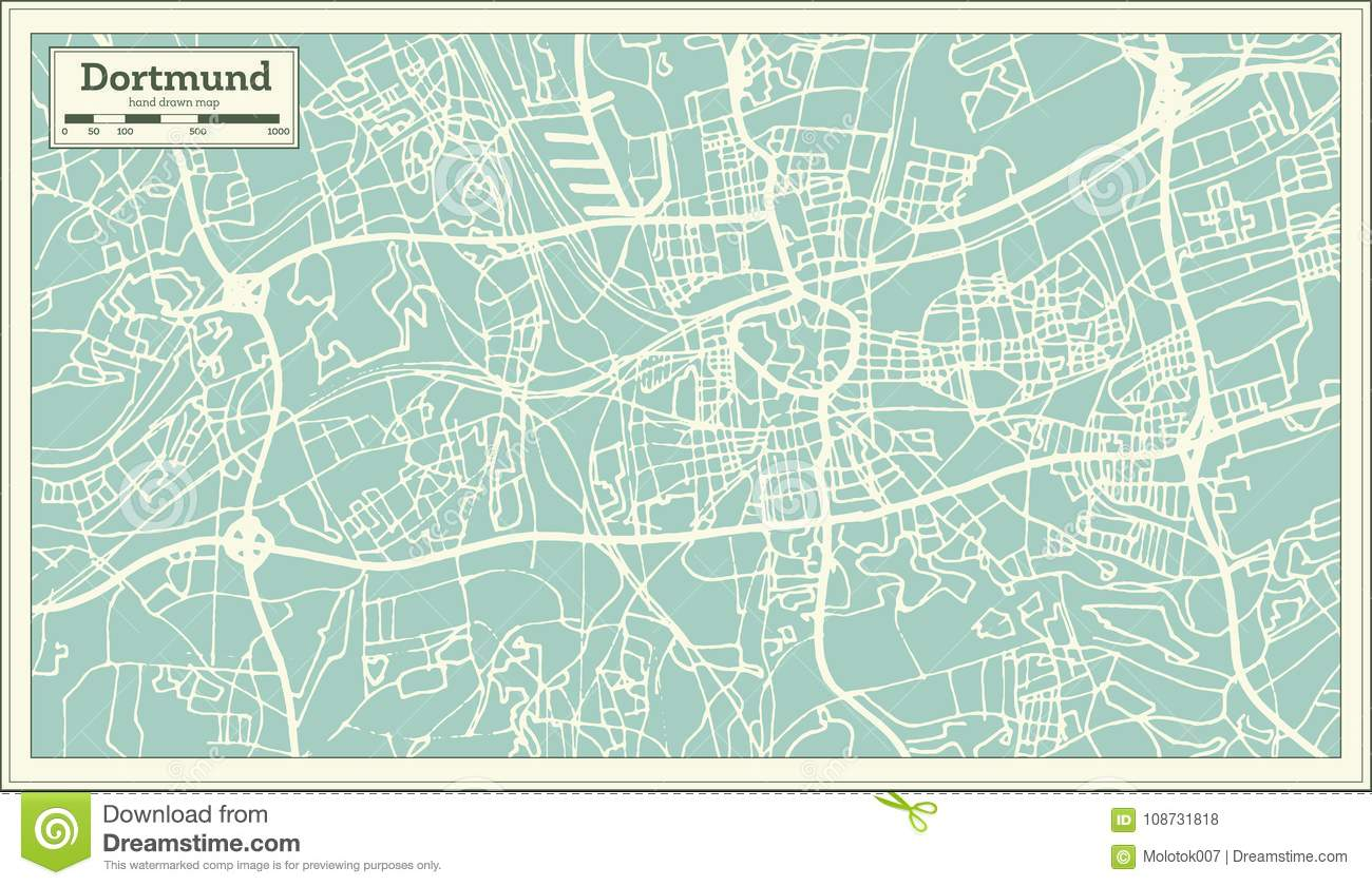 Dortmund Germany City Map In Retro Style Outline Map Stock