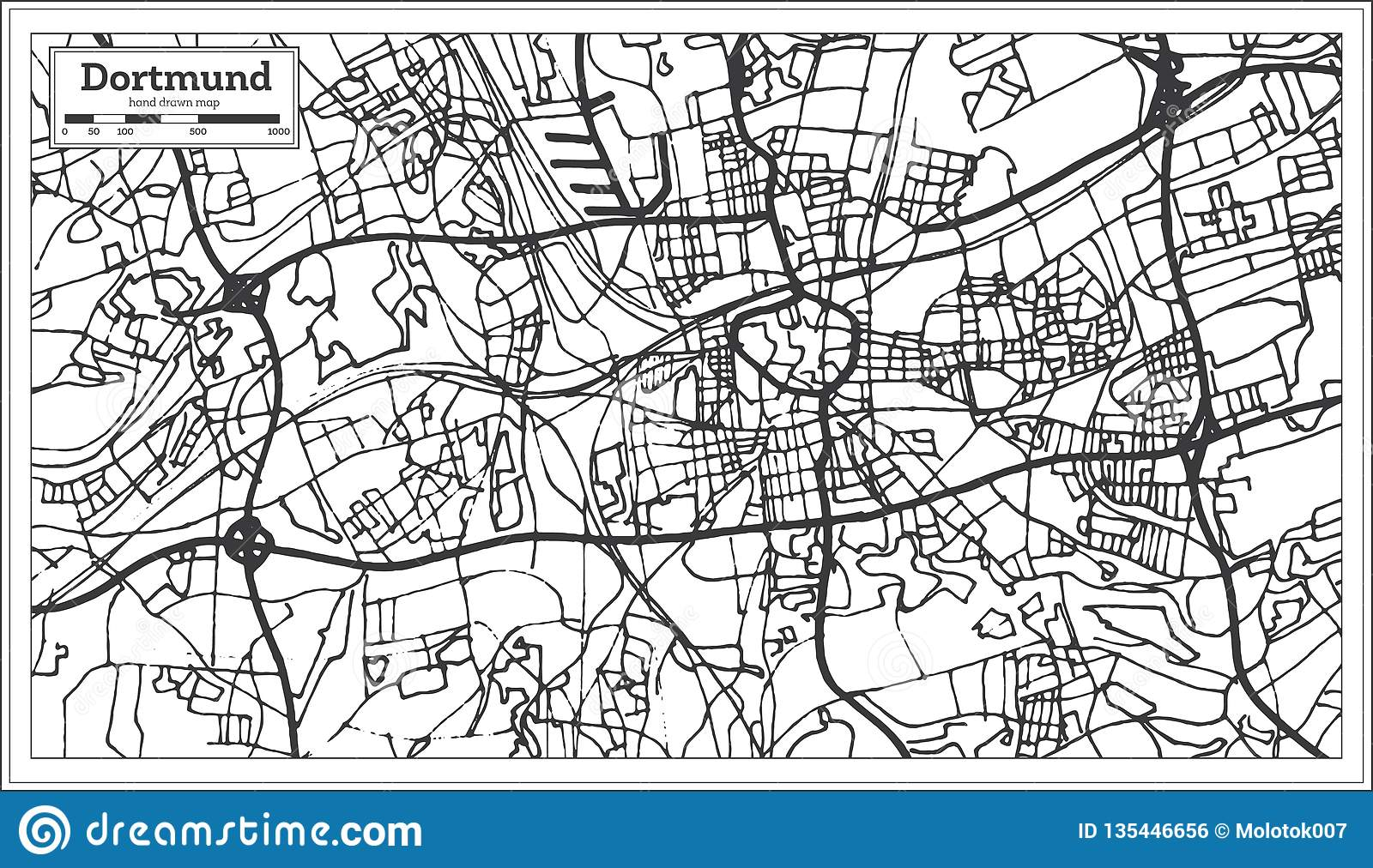 Dortmund On Map Of Germany.Dortmund Germany City Map In Retro Style Outline Map Stock Vector