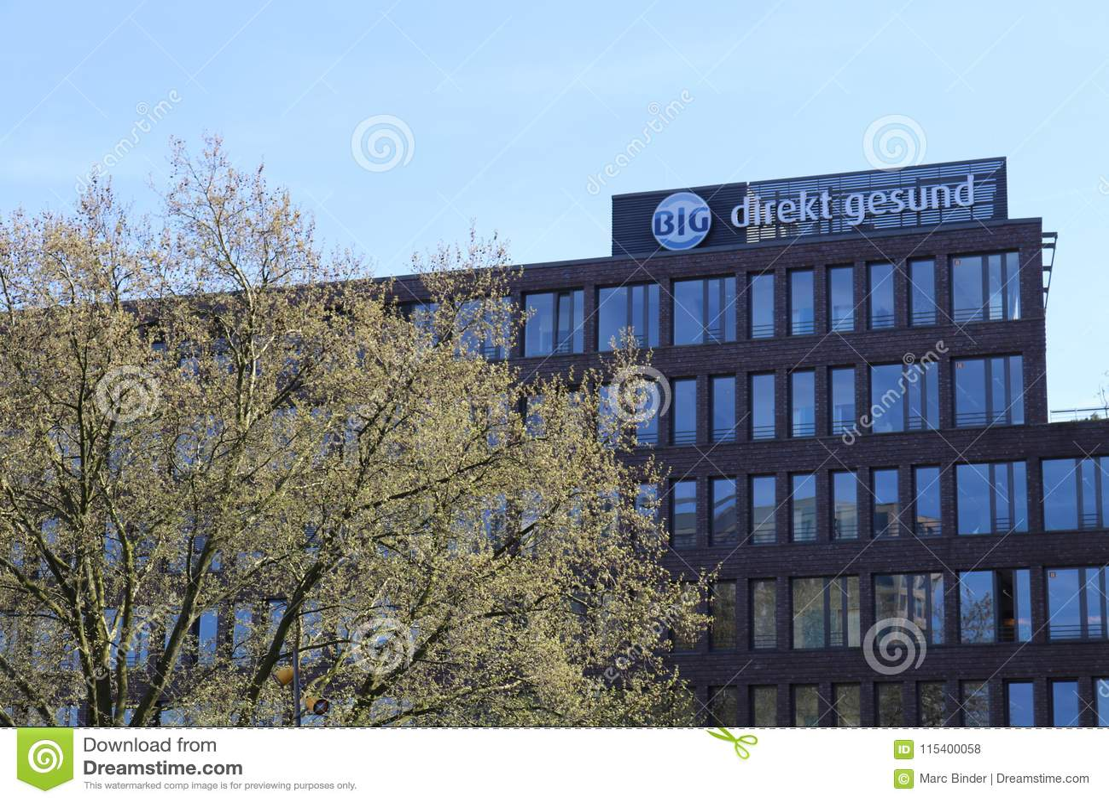 Dortmund, Ruhr Area, North Rhine Westphalia ,Germany - April 16 2018: German `Bundesinnungskrankenkasse Gesundheit` Direkt gesund