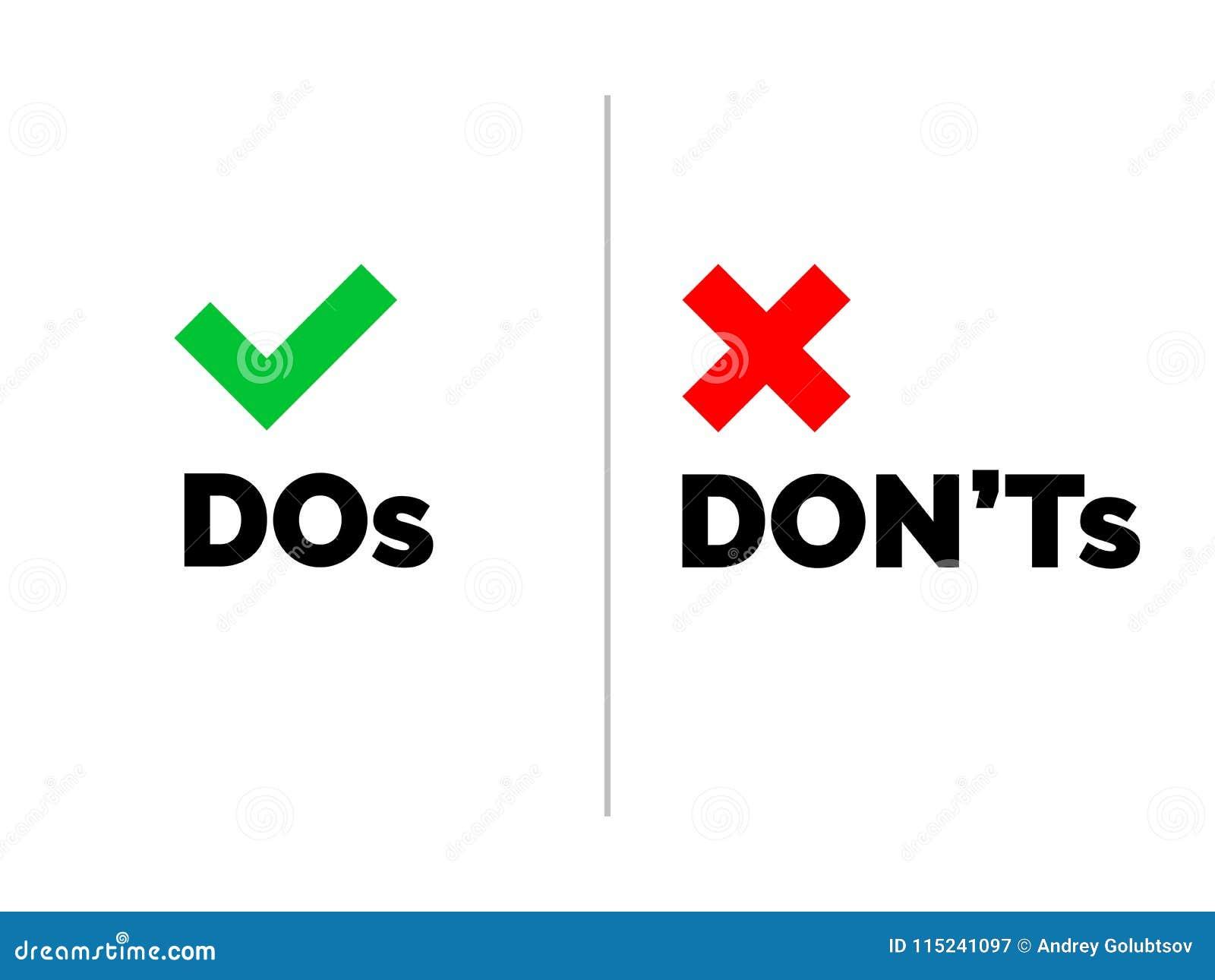 Dos和不` s检查壁虱在透明背景隔绝的标记和红十字象 传染媒介做和唐` t清单