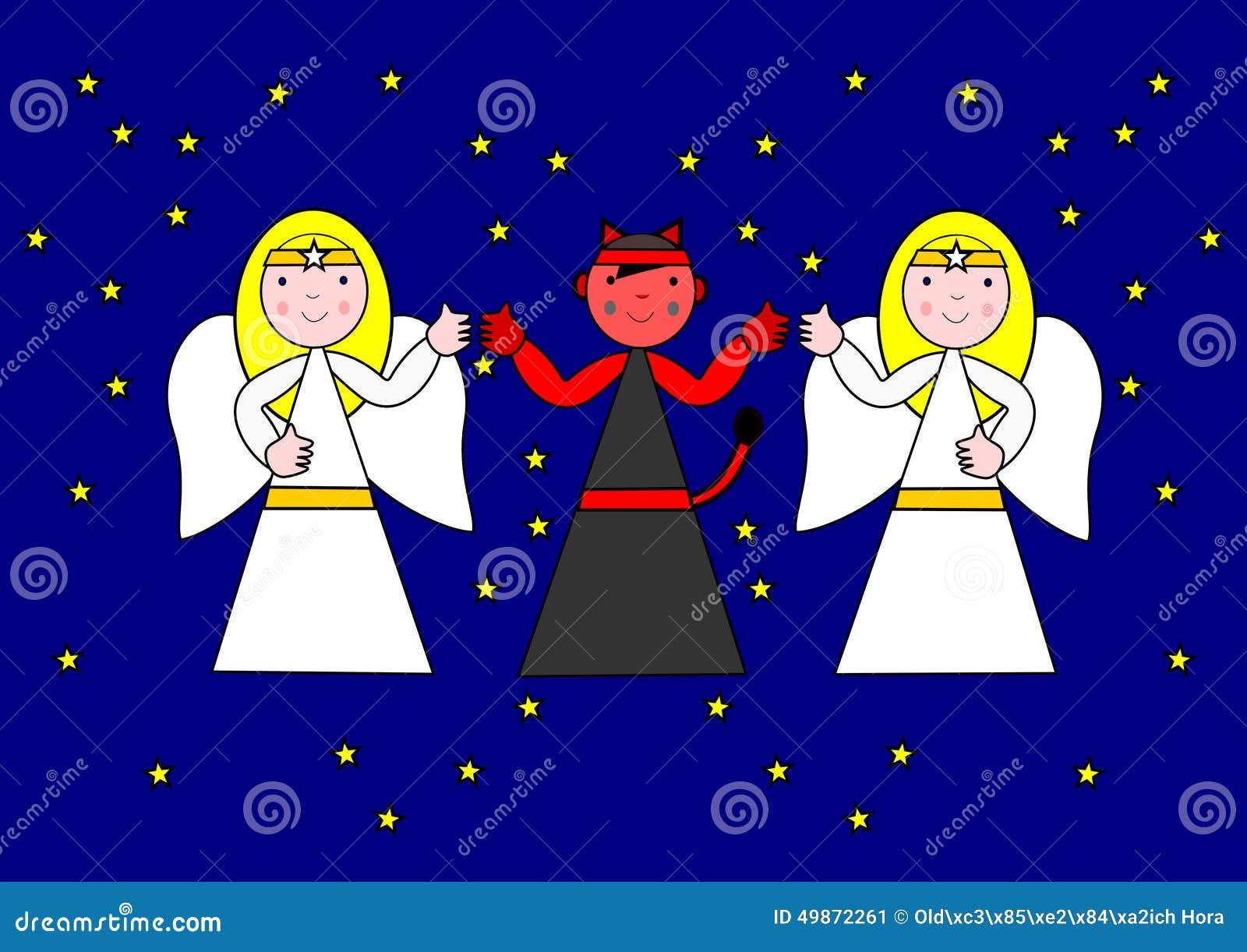 Dos ángeles y el diablo stock de ilustración. Ilustración de ...