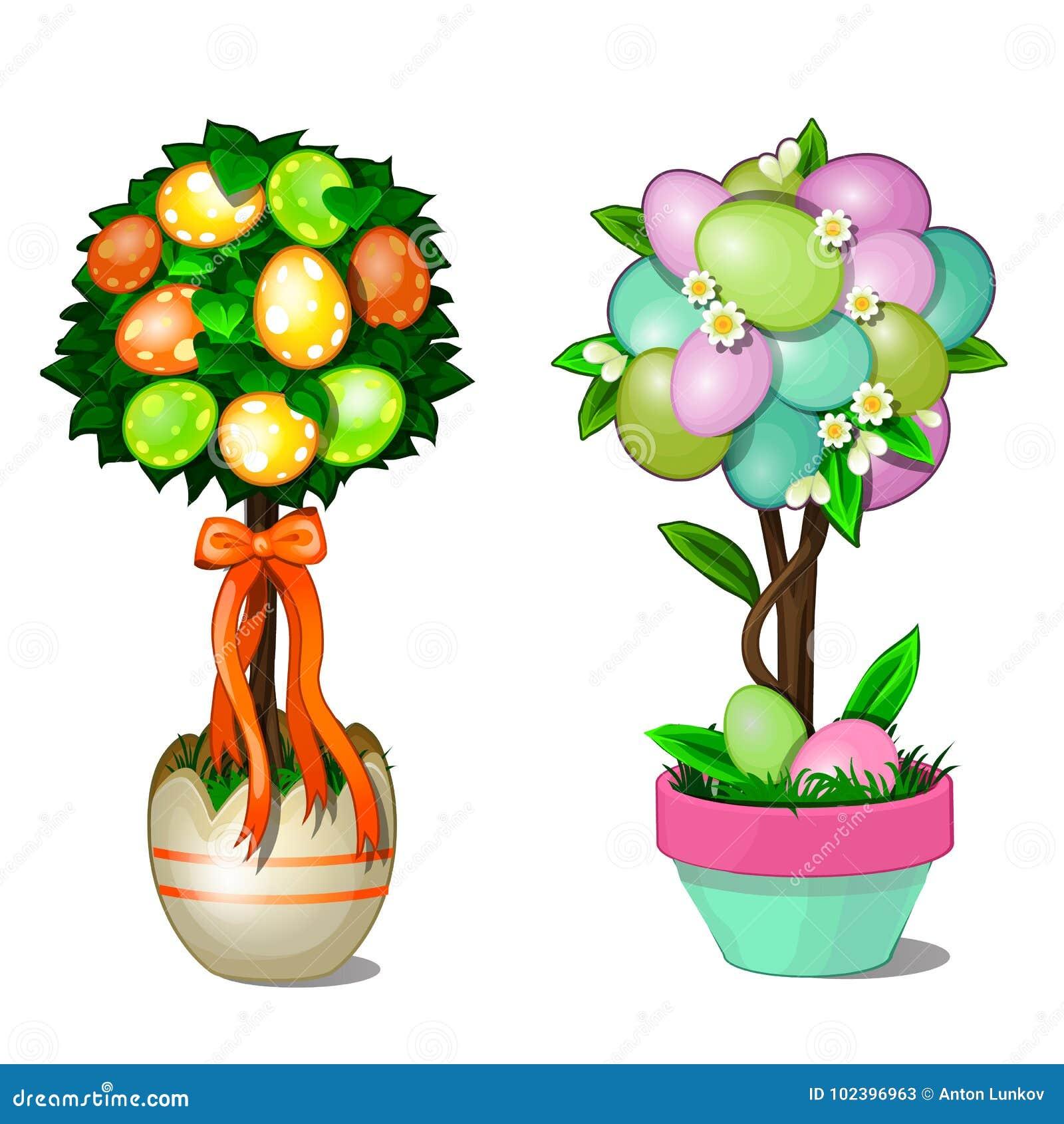Dos árboles con las hojas y los huevos de Pascua coloridos en potes estilizados Símbolo y decoración para el día de fiesta Ilustr