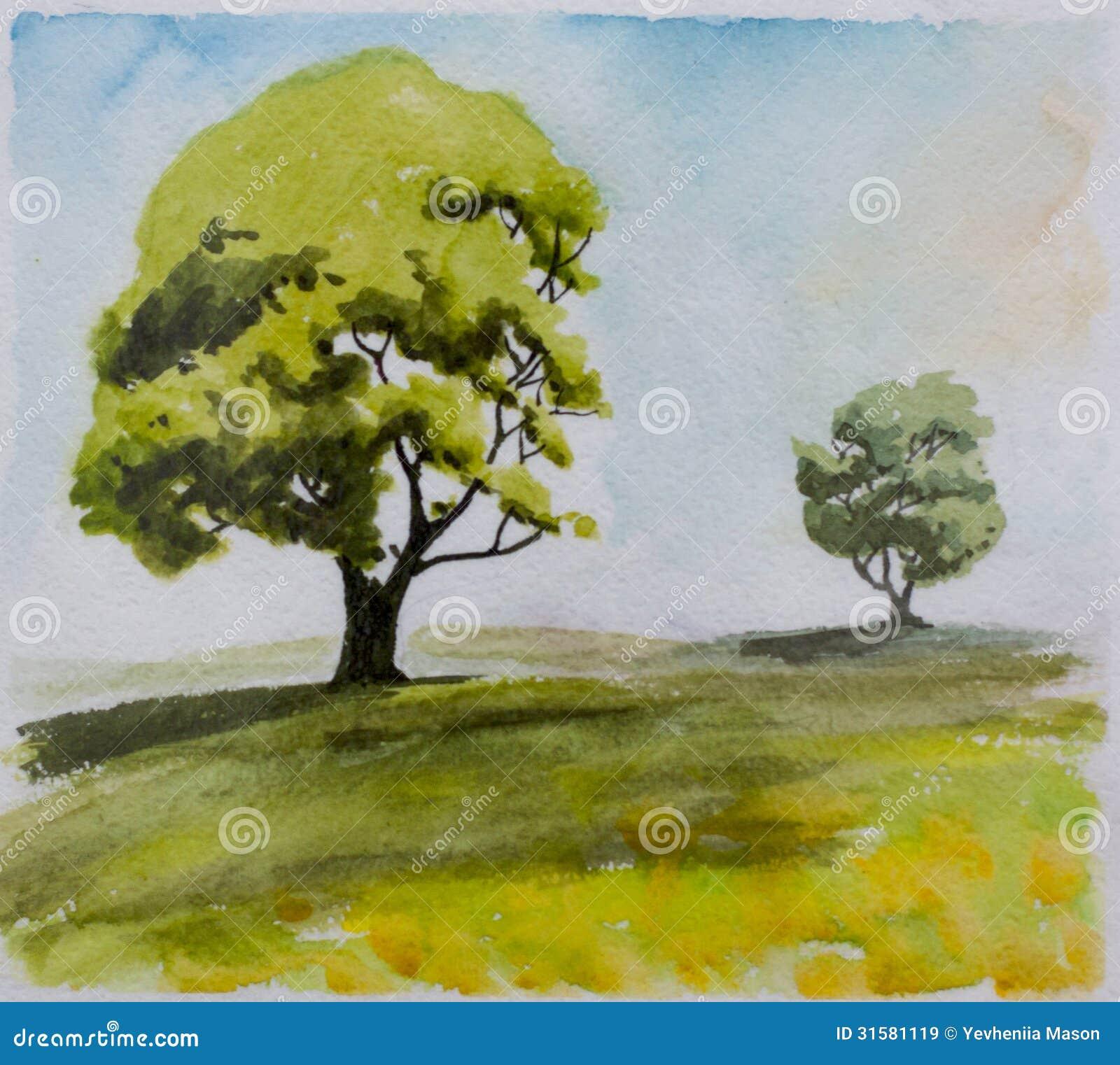 Dos árboles en una distancia