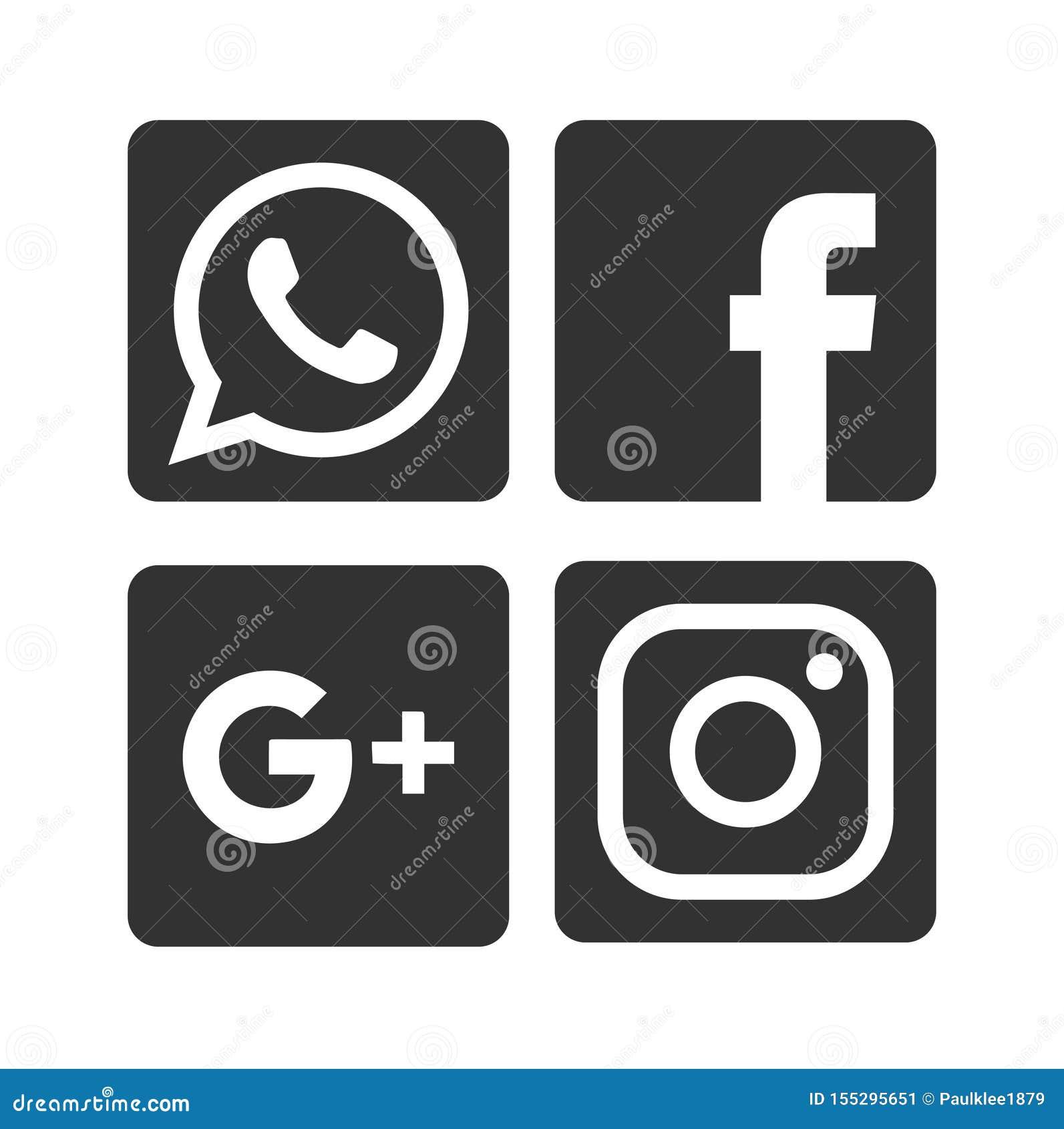 Dos ícones sociais dos meios de Whatsapp, de Facebook, de Google Plus e de Instagram ilustração editorial