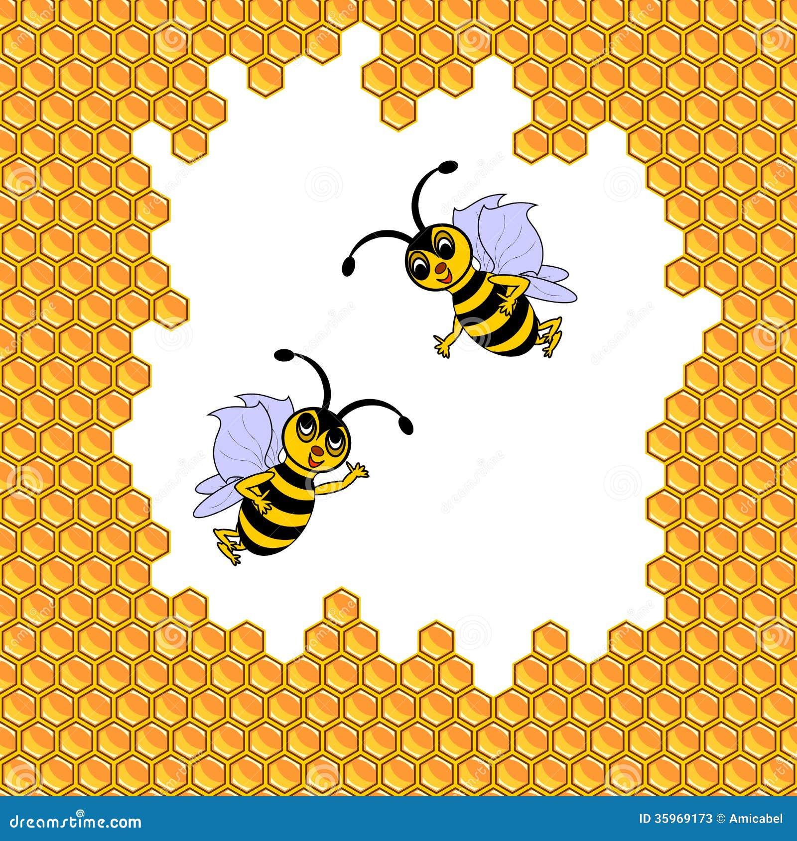 Dos abejas divertidas de la historieta rodeadas por los panales