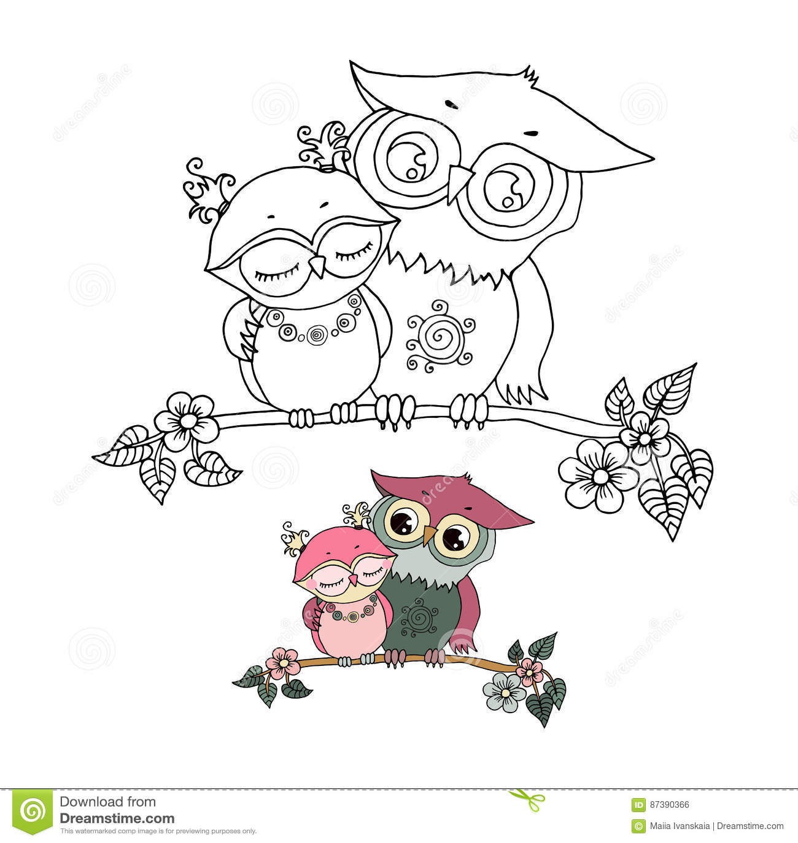 Dos Búhos Lindos Caidos En Amor Ilustración Del Vector Ilustración