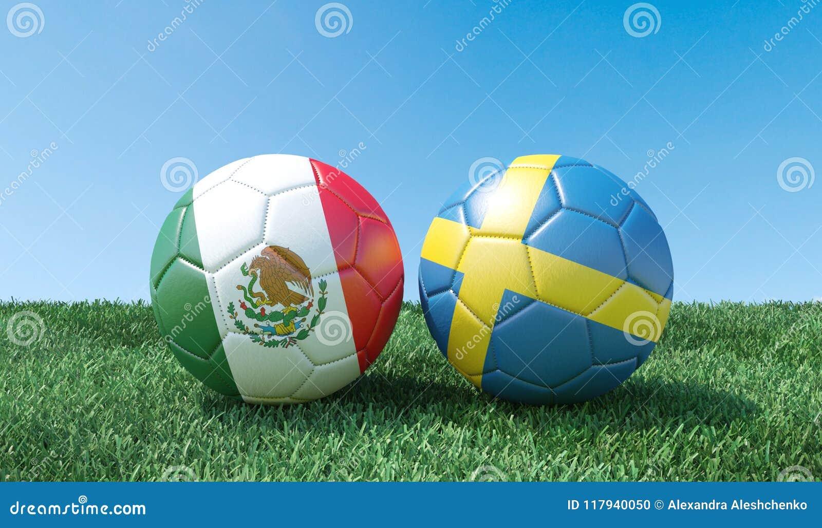Dos balones de fútbol en colores de las banderas