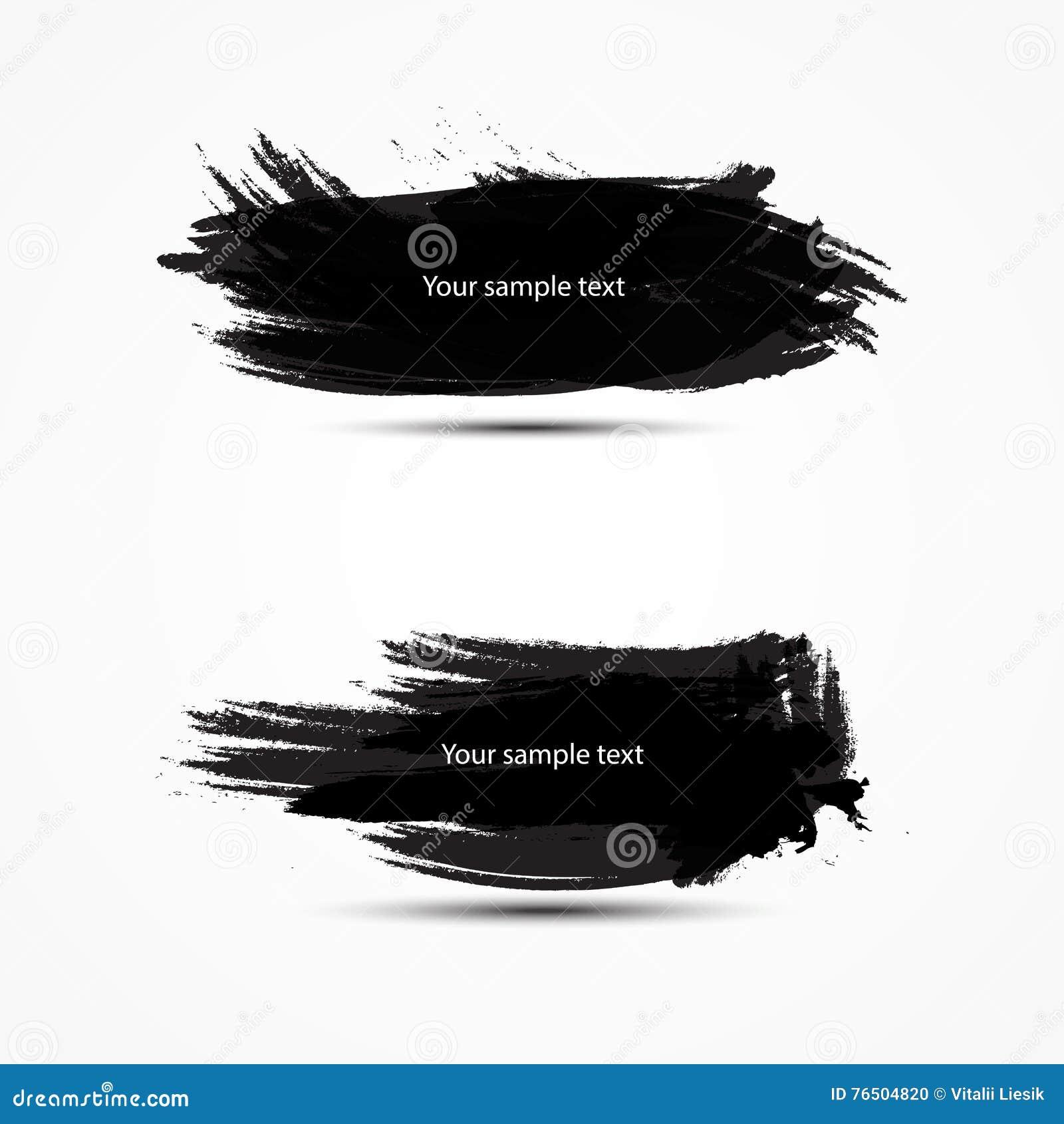 Dos banderas negras con el lugar para el cepillo del vector del texto