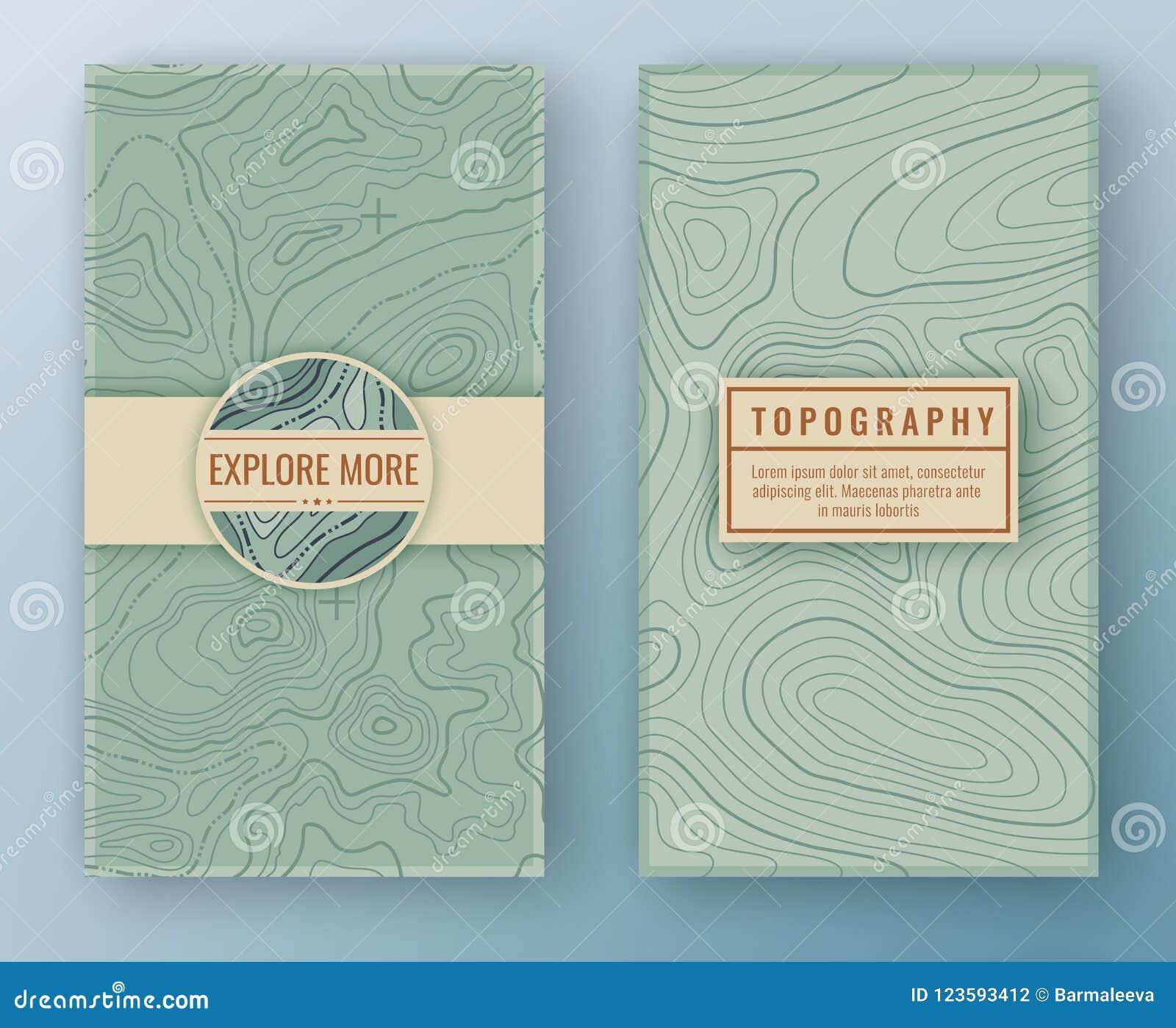 Dos banderas verticales retras abstractas con el modelo y la copia del mapa espacian marcos Fondo del viaje del mapa topográfico