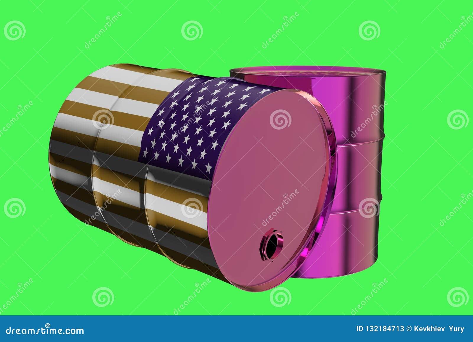 Dos barriles de aceite industriales del metal con la representación de la bandera 3D de los E.E.U.U.
