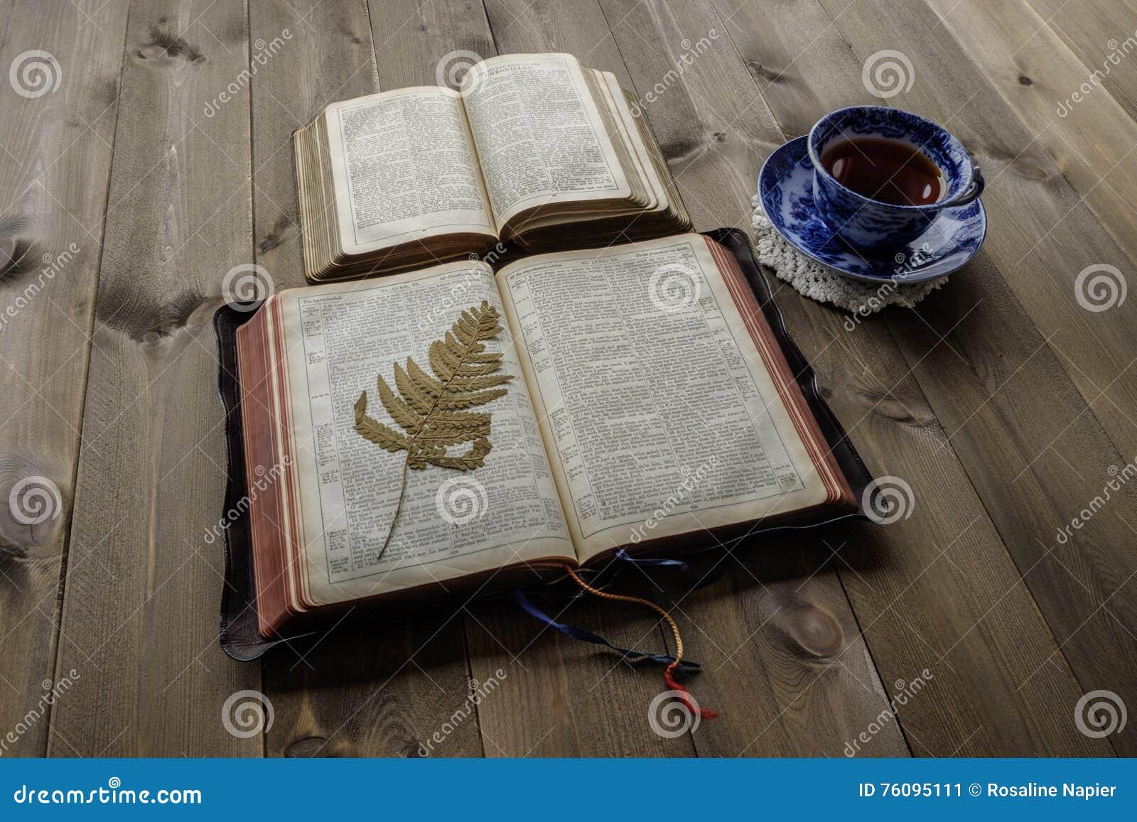 Dos Biblias Y Tazas Abiertas De Té Imagen De Archivo Imagen De