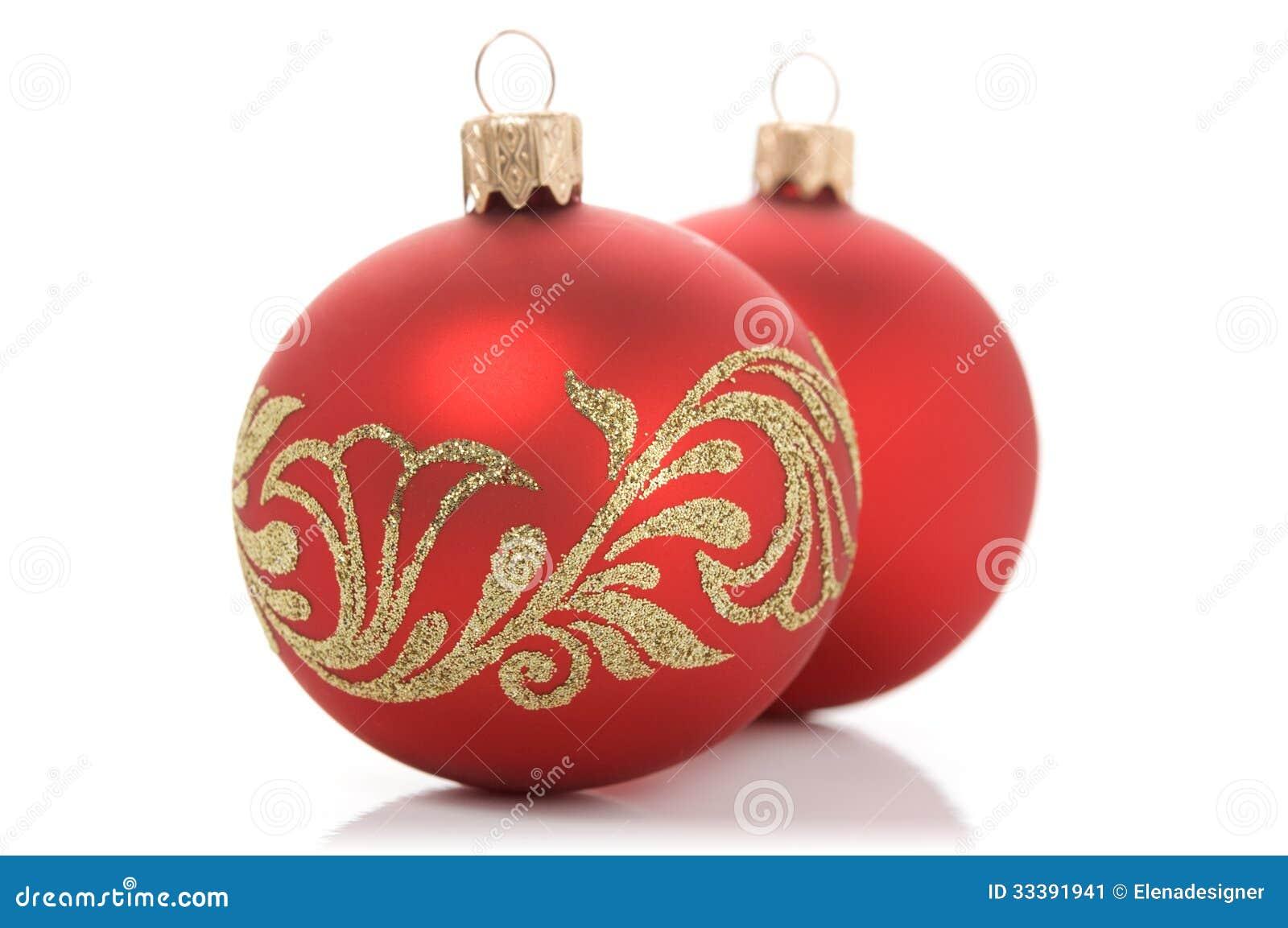 Dos bolas rojas de navidad imagen de archivo imagen - Bolas de navidad rojas ...