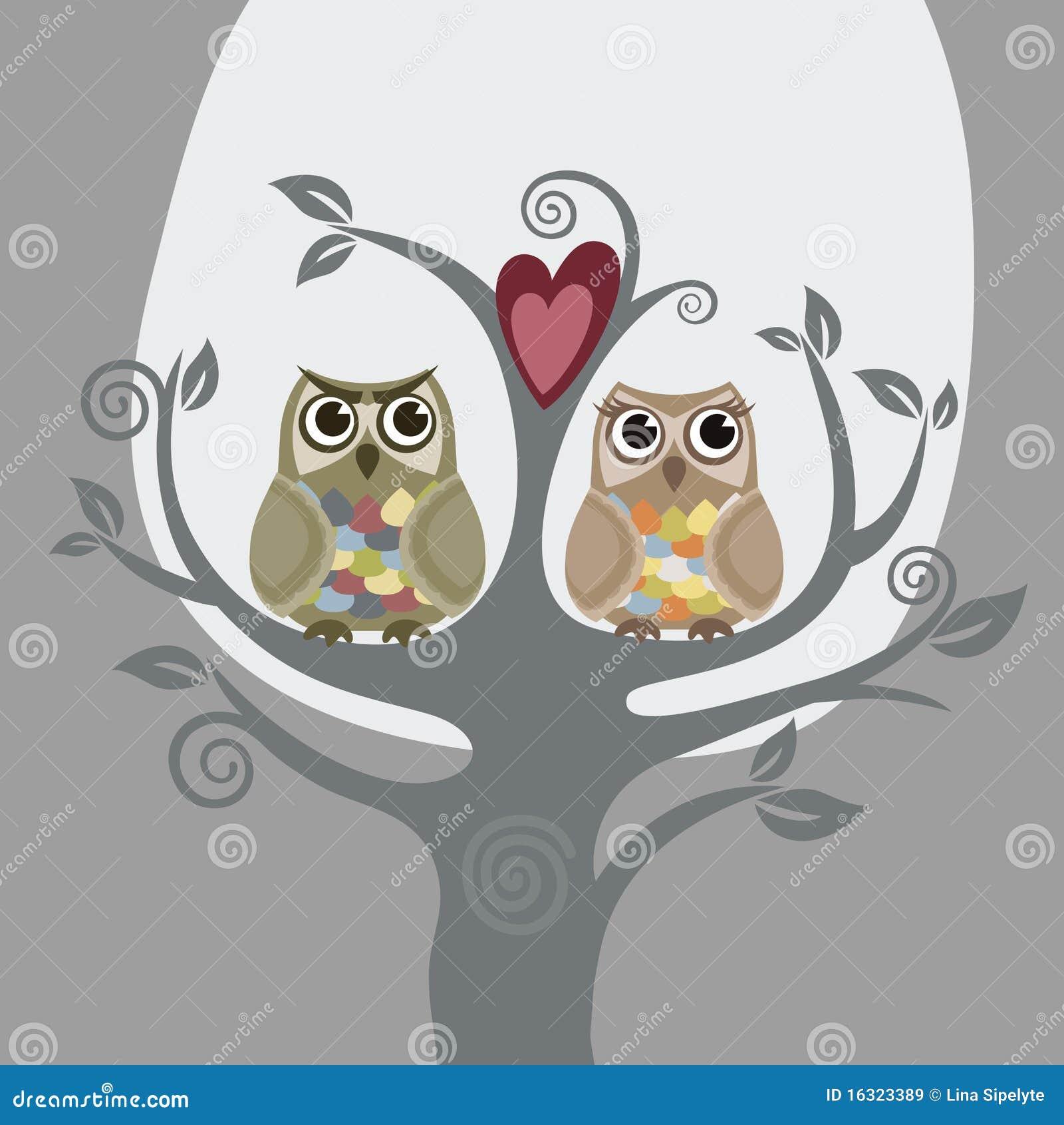 Dos buhos y árboles de amor