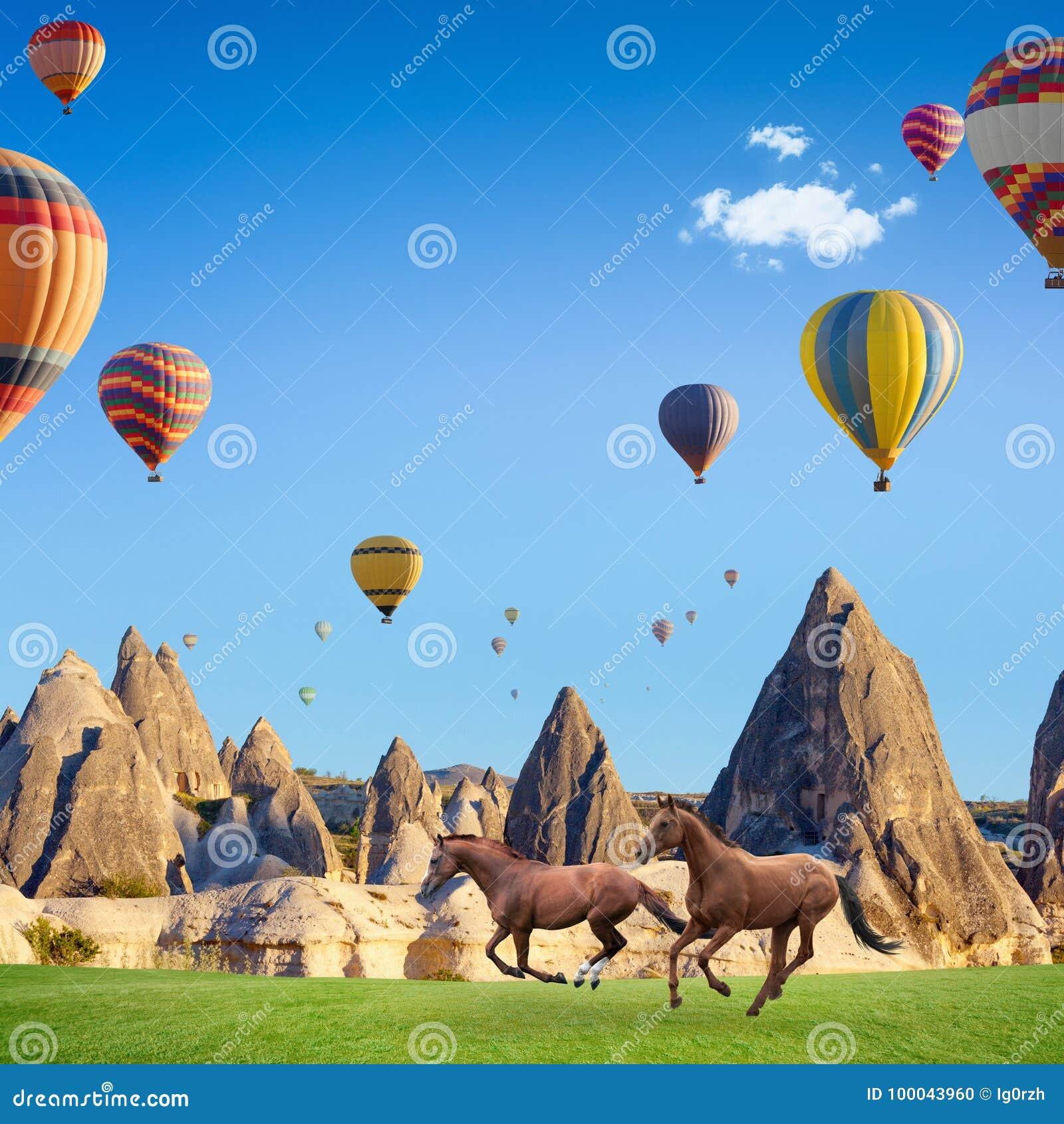 Dos caballos que corren y globos del aire caliente en Cappadocia, Turquía