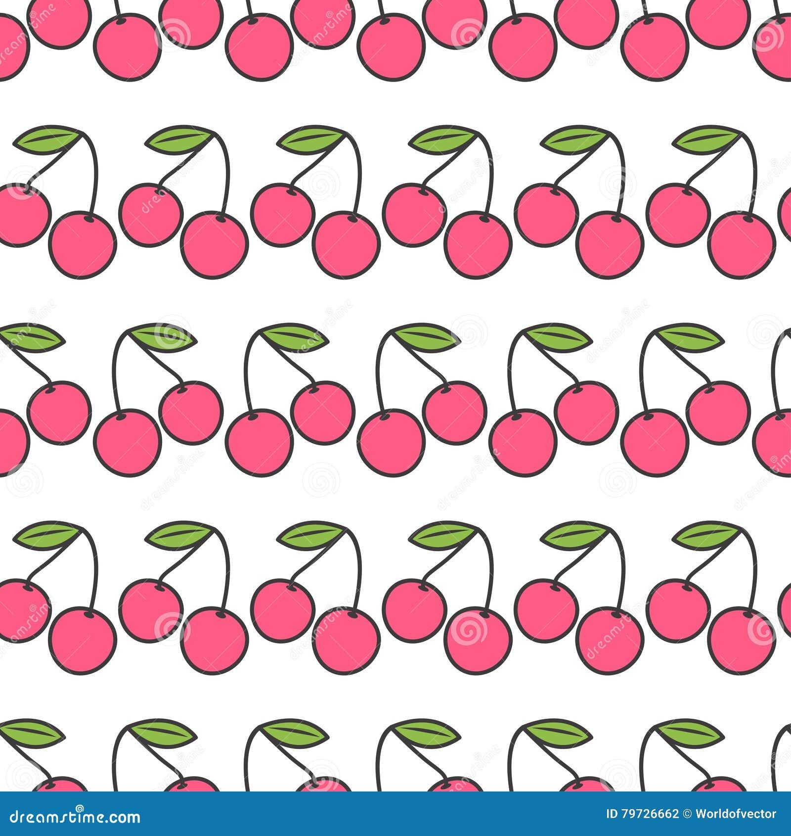Dos cerezas rosadas con la hoja verde Fondo inconsútil del blanco del modelo Diseño plano
