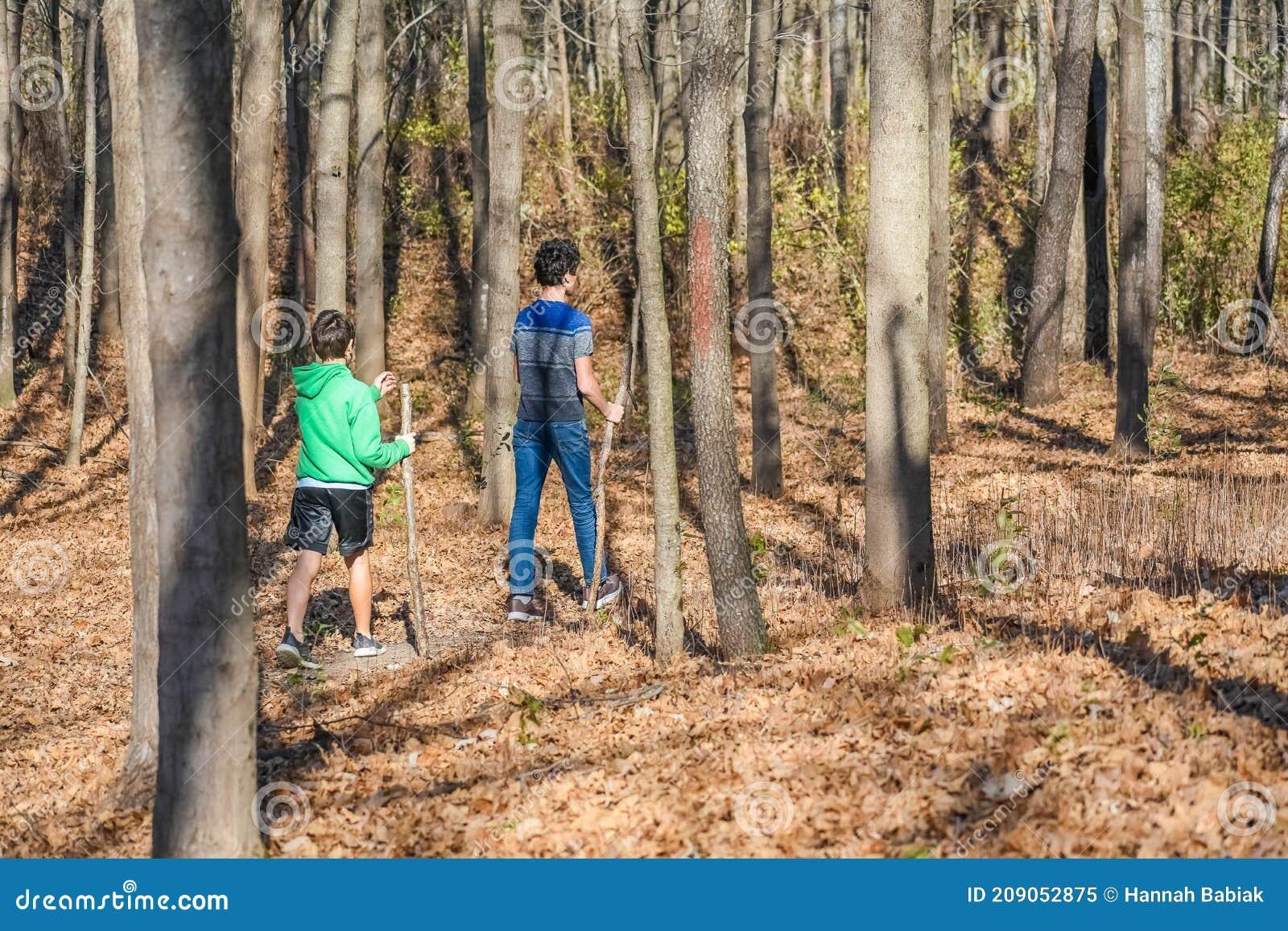 Dos Chicos Con Palos Caminando Por El Bosque Imagen De Archivo Imagen De Deportes Selva 209052875