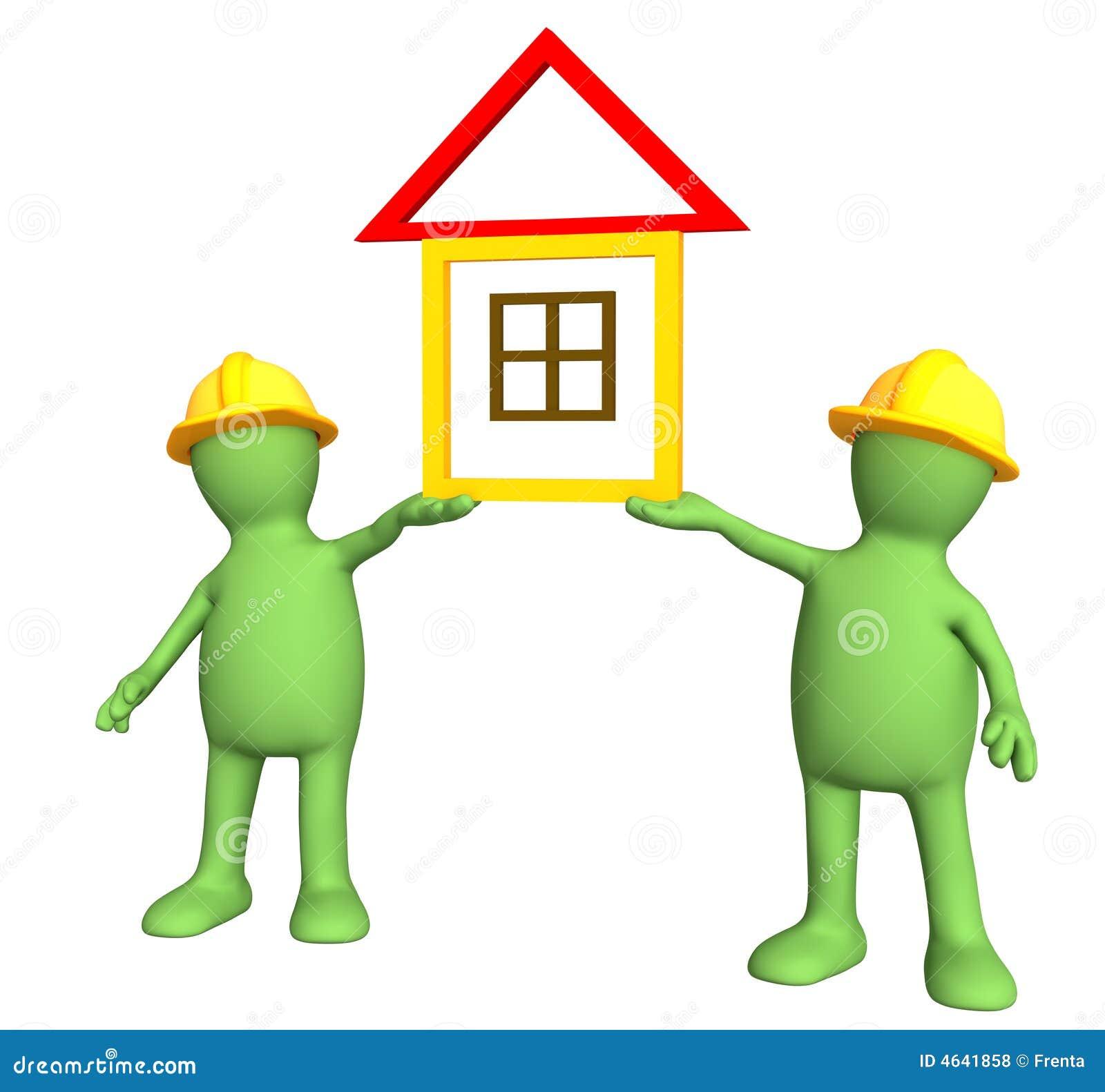 Dos constructores sosteniendo en manos la casa estilizada - Constructores de casas ...
