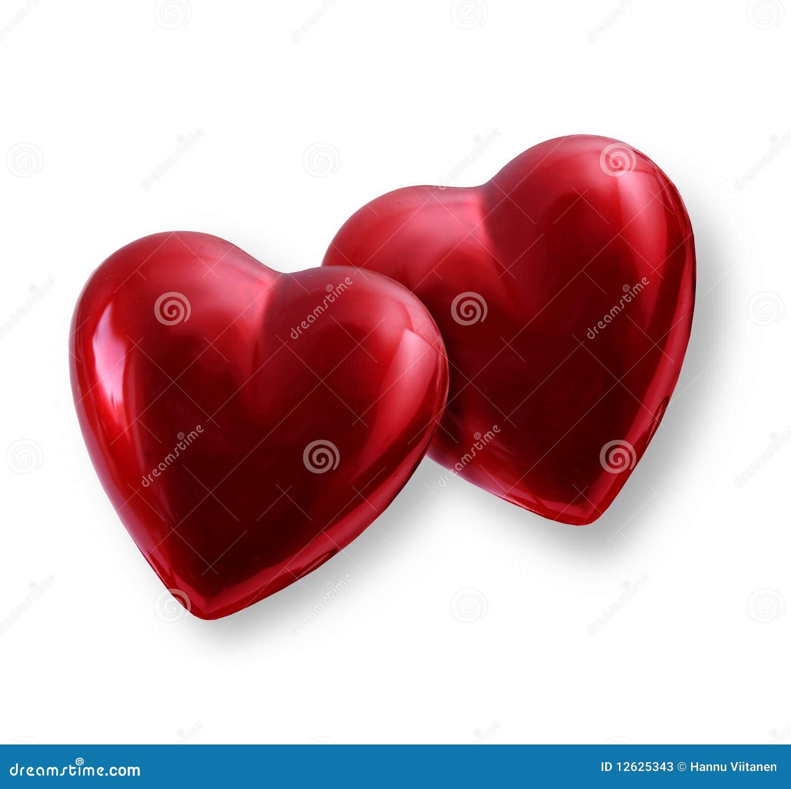 Dos corazones de la tarjeta del día de San Valentín