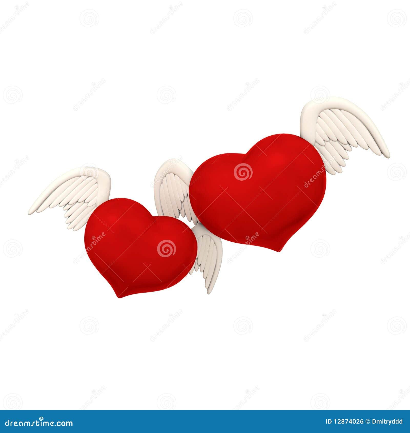 Dos Corazones Del Amor Con Las Alas Stock De Ilustración