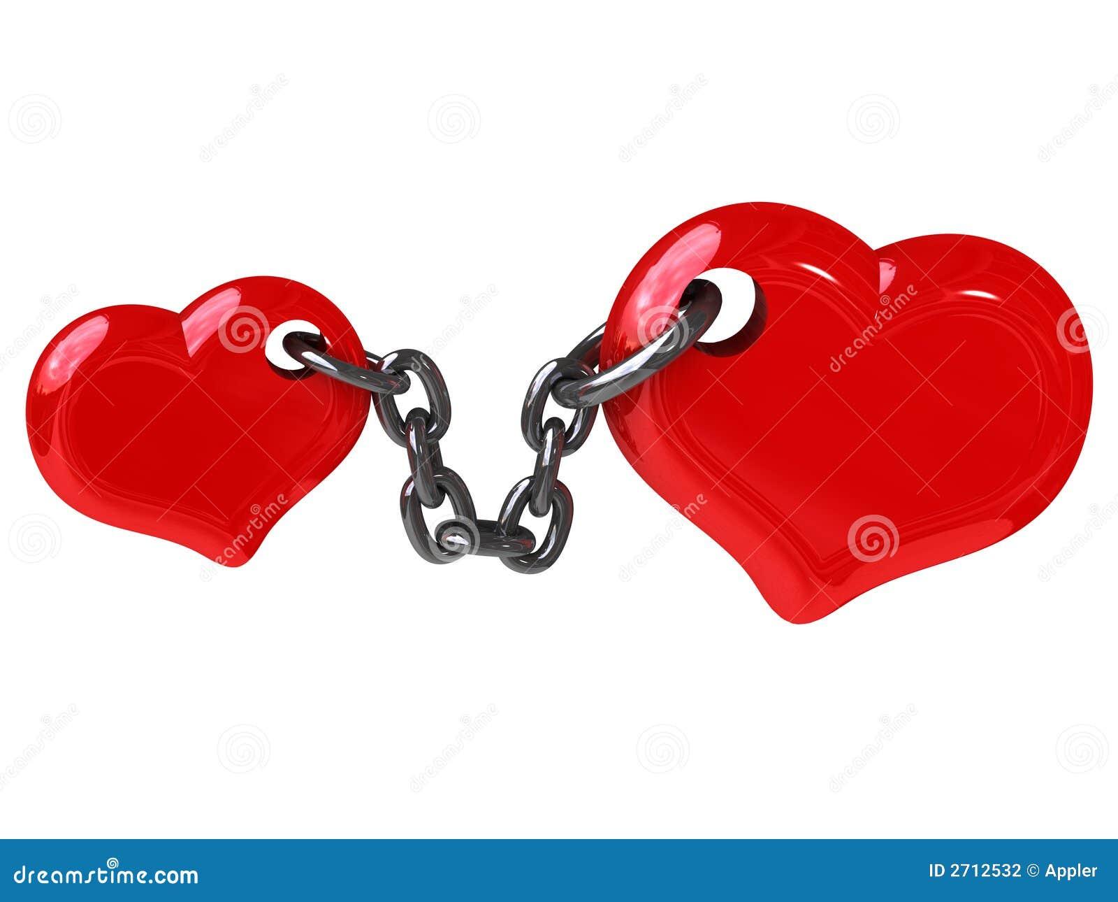 Dos corazones fijados por el encadenamiento