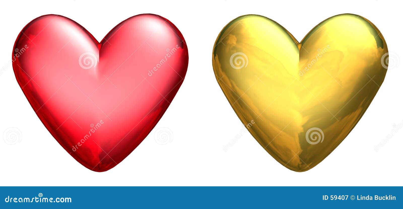 Dos corazones metálicos 3D