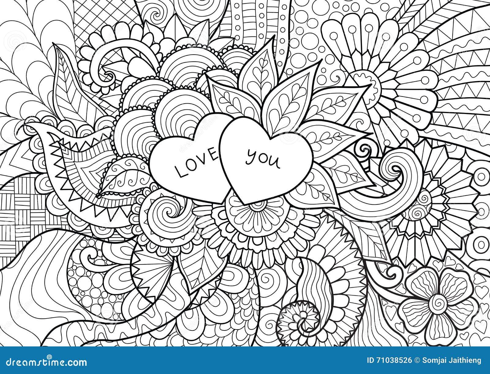 Dos Corazones Que Ponen En Las Flores Para El Libro De Colorear Las