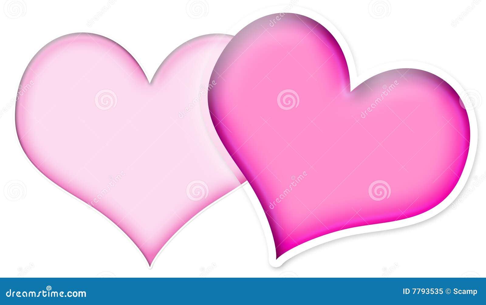 dos corazones rosados