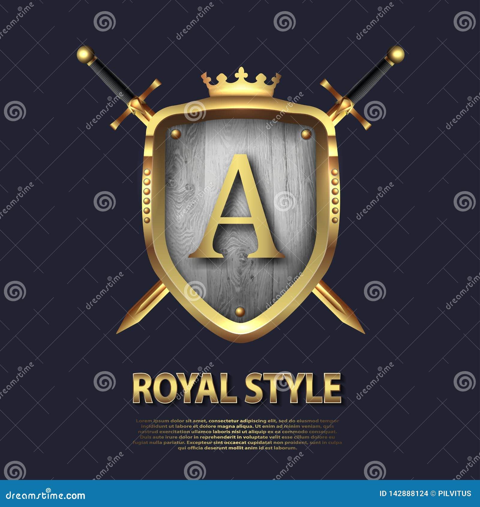 Dos cruzaron las espadas y el escudo con la corona y la letra A Dise?o de letra en el color oro para las aplicaciones como s?mbol
