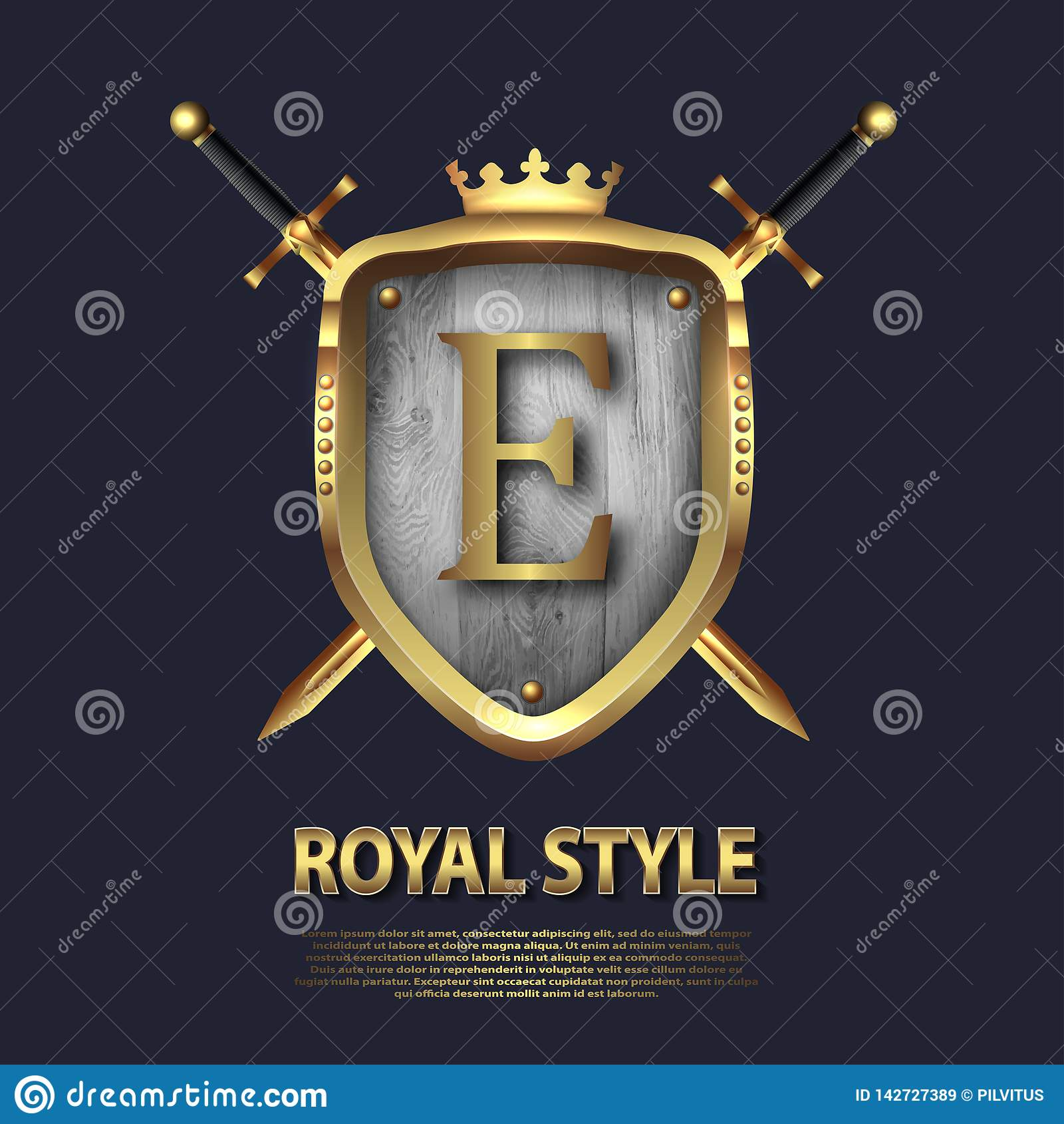 Dos cruzaron las espadas y el escudo con la corona y la letra E Diseño de letra en el color oro para las aplicaciones como símbol