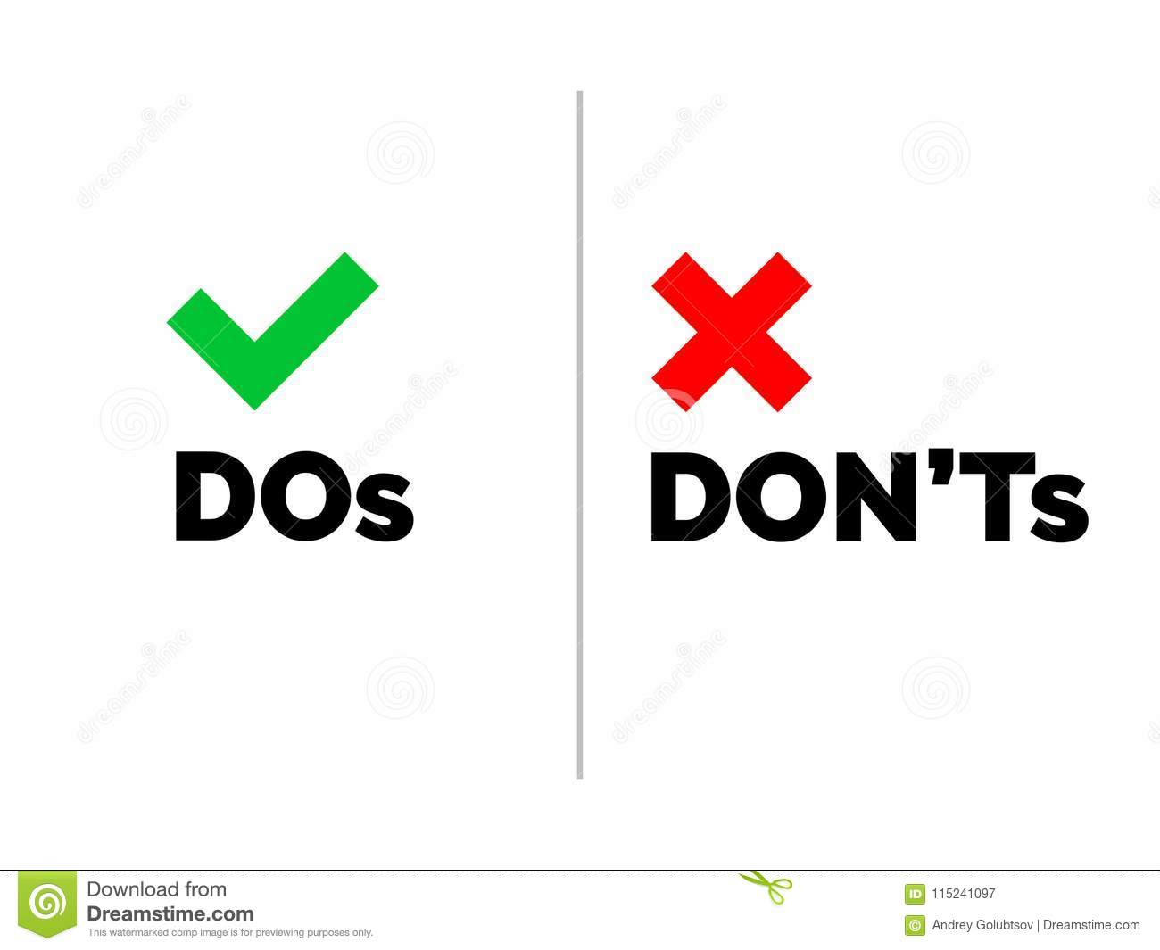 dos and dont`s check tick mark and red cross icons isolated on